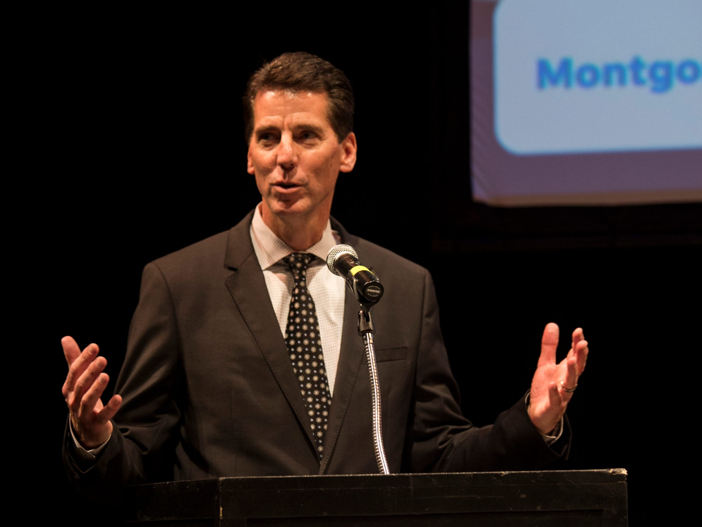 Montgomery Advertiser publisher Michael Galvin speaks during the Community Heroes awards ceremony at Alabama Shakespeare Festival in Montgomery, Ala., on Tuesday, Jan. 8, 2019.