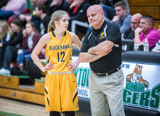 Cowan coach John Skinner, shown here during this year's Delaware County tournament, was denied by the school board from returning next season. He was 52-104 in seven years with the Blackhawks.