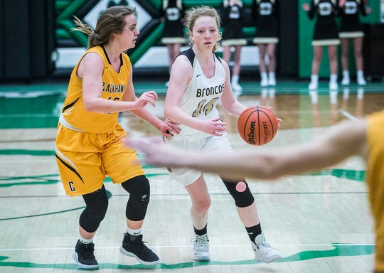 FILE -- Daleville's Ashlyn Craig dribbles a ball during a game against Cowan during the Delaware County Basketball Tournament at Yorktown High School Tuesday, Jan. 8, 2019.