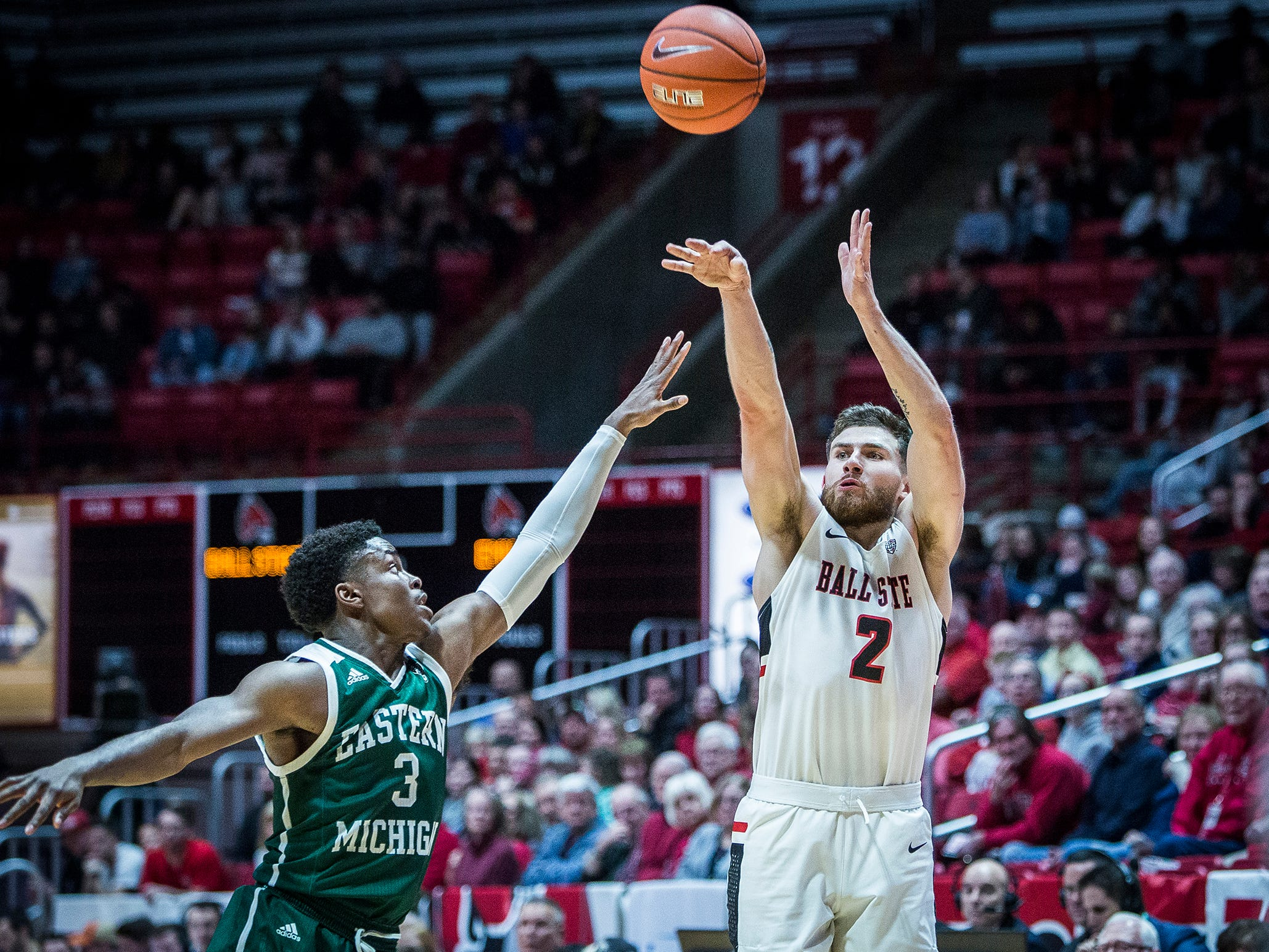 Ball State's Tayler Persons shoots past Eastern Michigan's defense during their game at Worthen Arena Tuesday, Jan. 8, 2019.