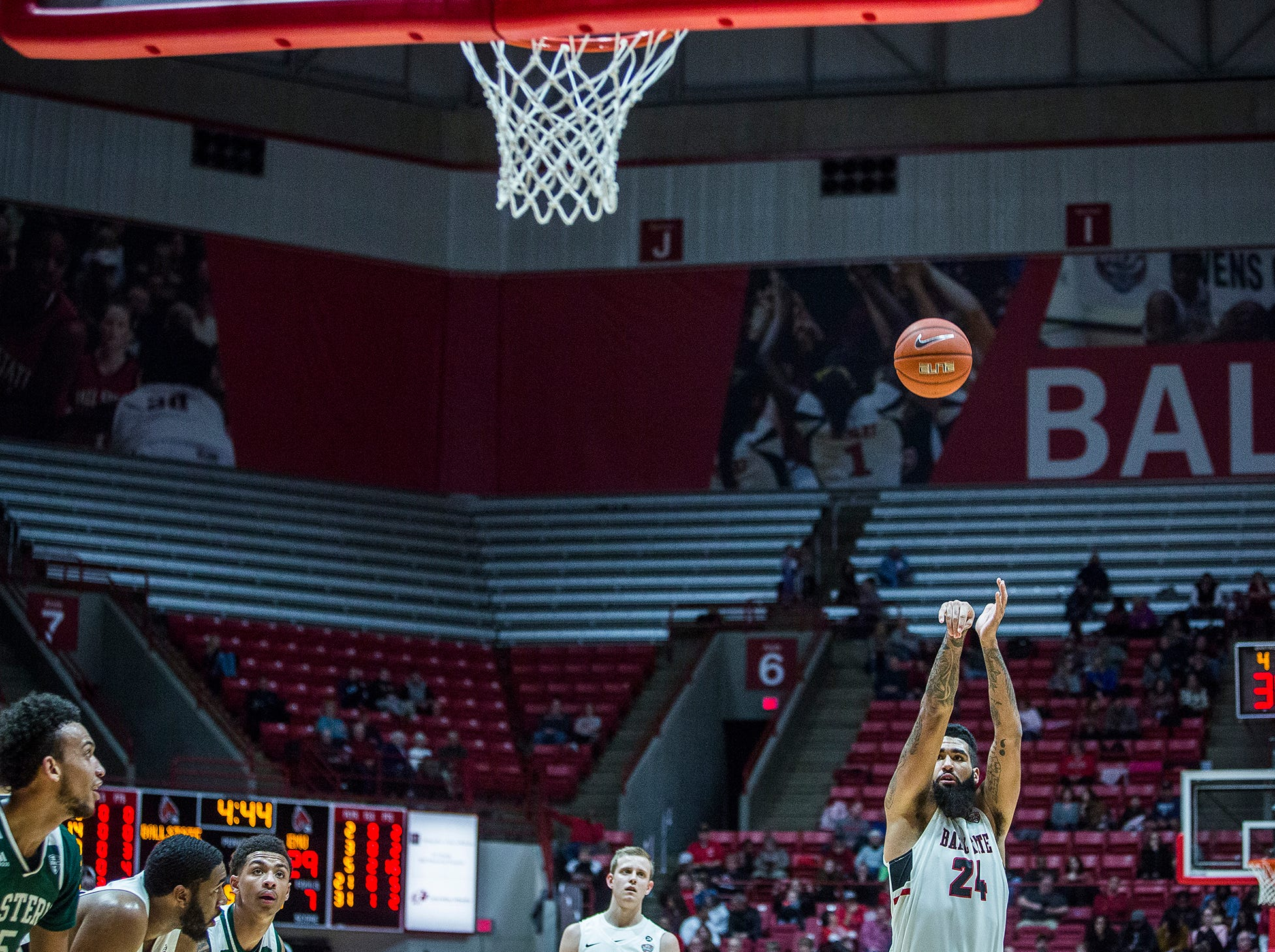 Ball State's Trey Moses shoots a free throw against Eastern Michigan's defense during their game at Worthen Arena Tuesday, Jan. 8, 2019.