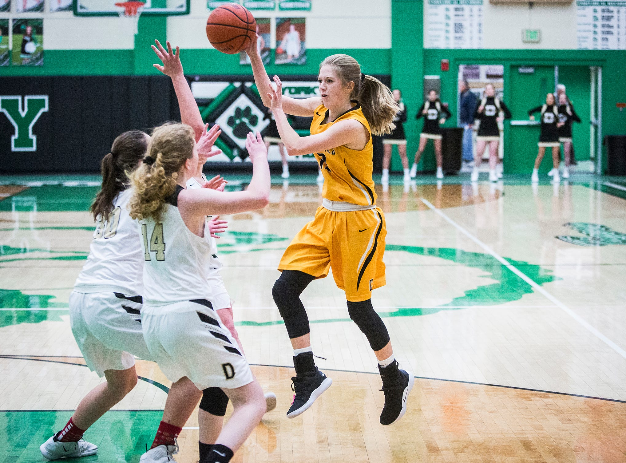 Cowan faces off against Daleville during the Delaware County Basketball Tournament at Yorktown High School Tuesday, Jan. 8, 2019.