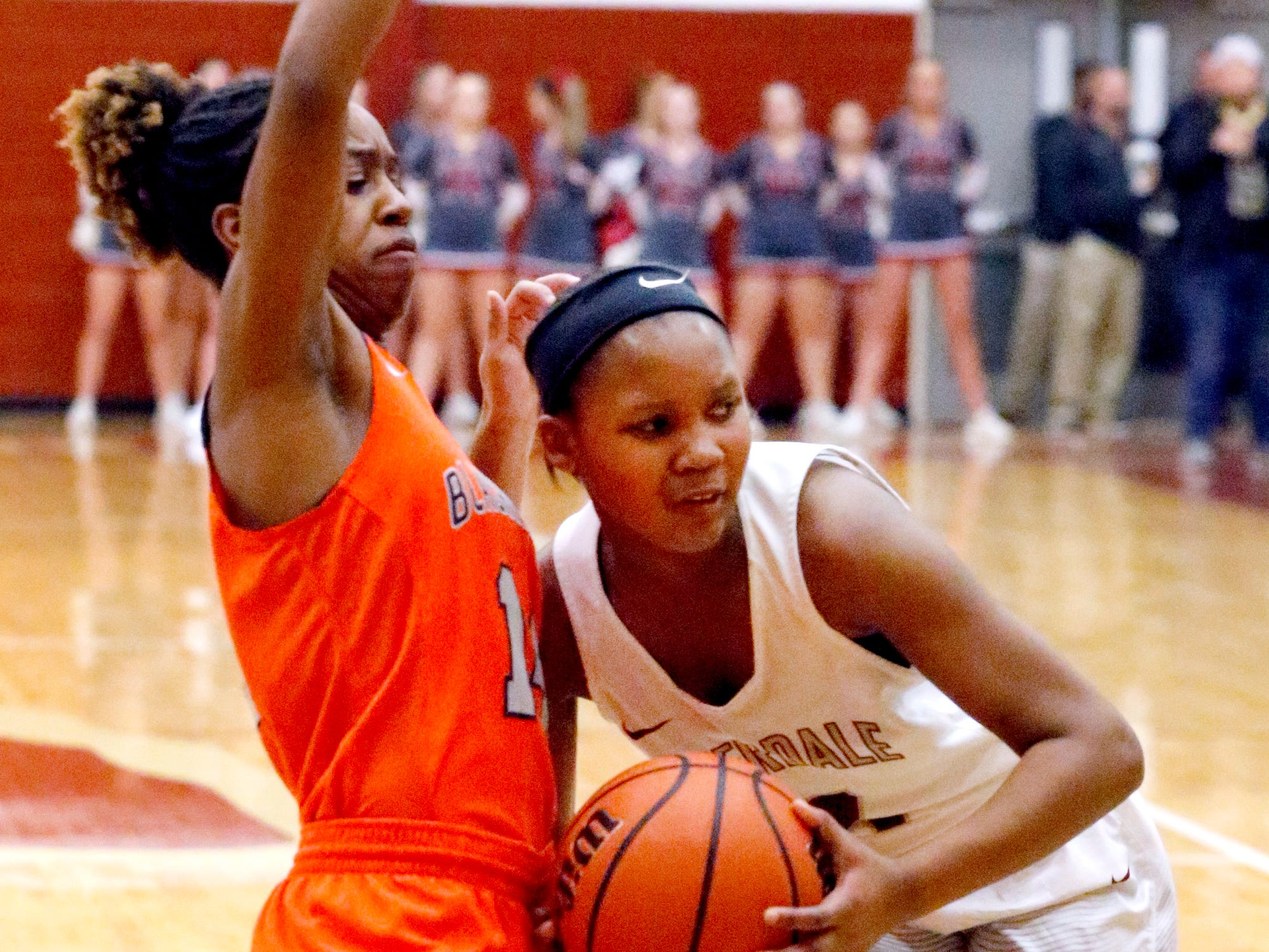 Riverdale's Acacia Hayes (3) looks to pass the ball as Blackman's Joelle Patton (14) guards her on Tuesday Jan. 8, 2019.