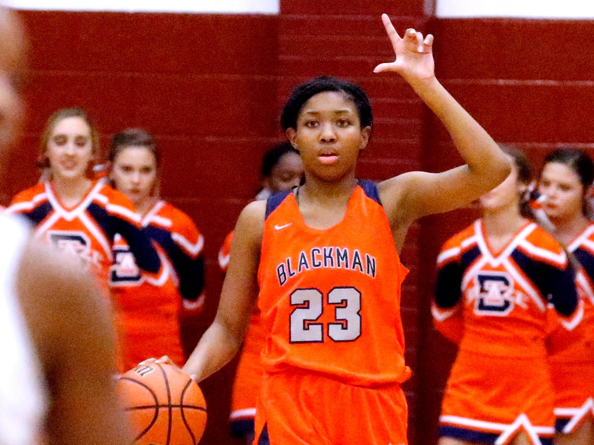 Blackman's Iyana Moore (23) brings the ball down the court during the game against Riverdale on Tuesday Jan. 8, 2019.