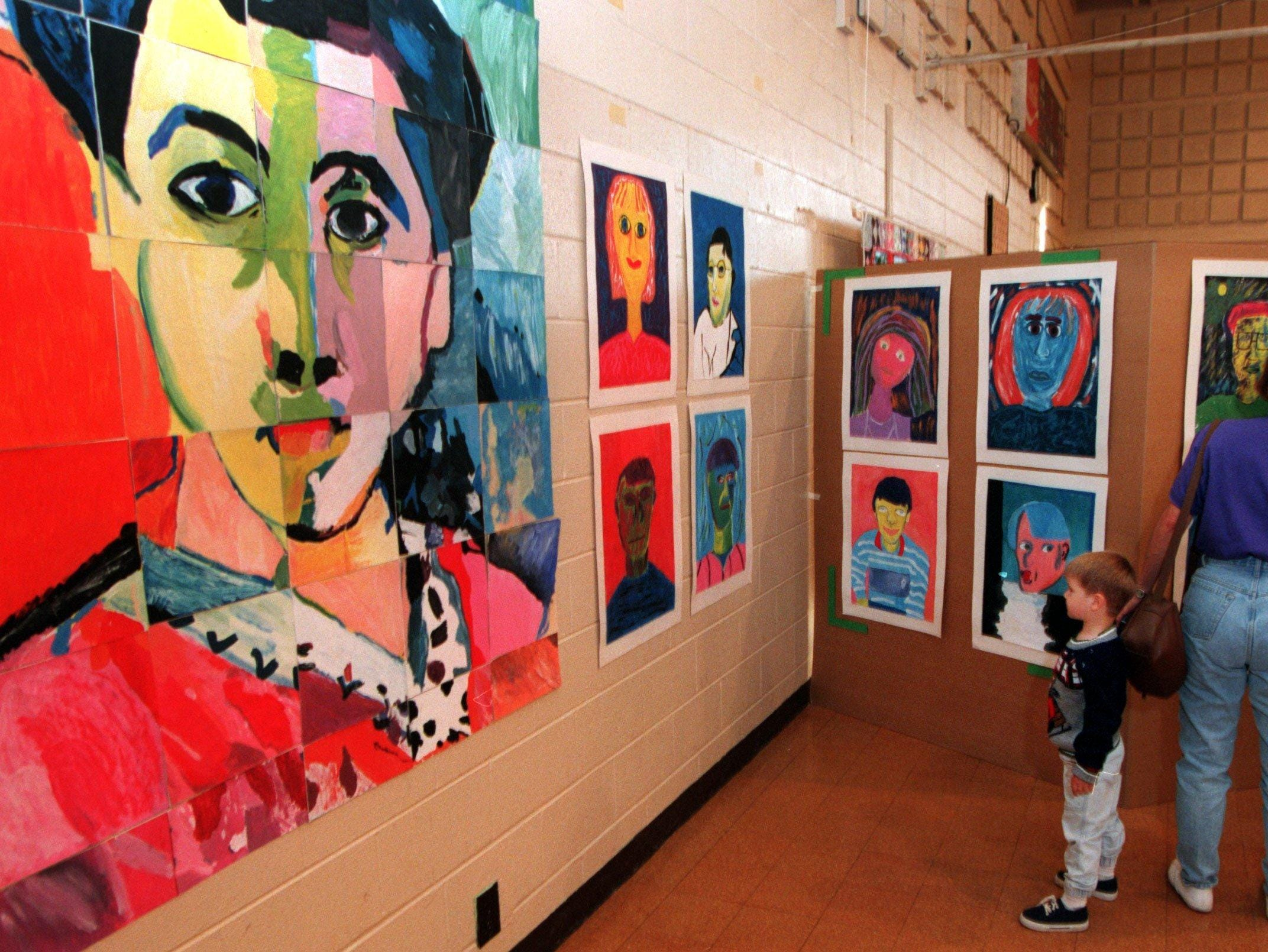 Art display at Bellwood Elementary School, now a magnet school, in 1996.
