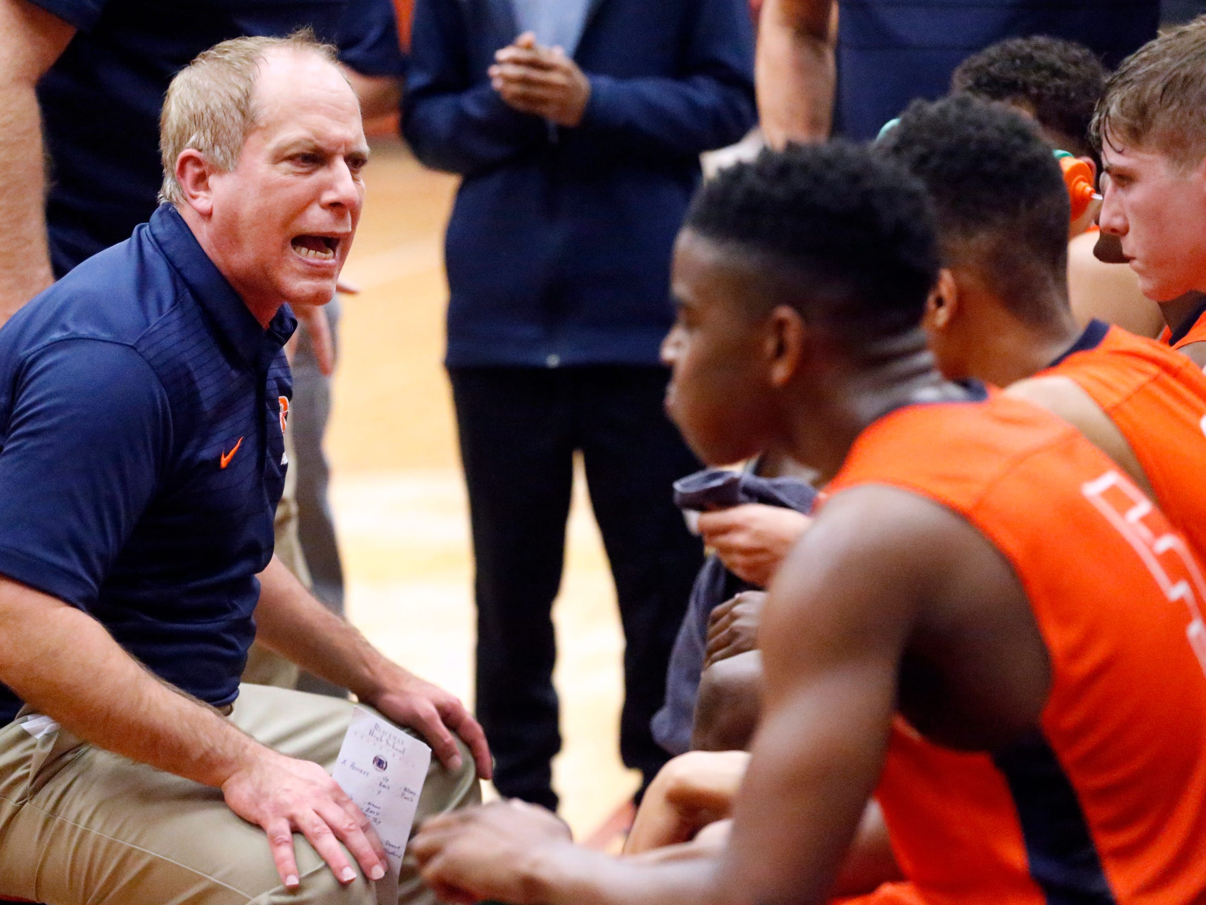 Blackman's head coach Barry Wortman talks to his players during a time-out in the game against Riverdale on Tuesday Jan. 8, 2019.