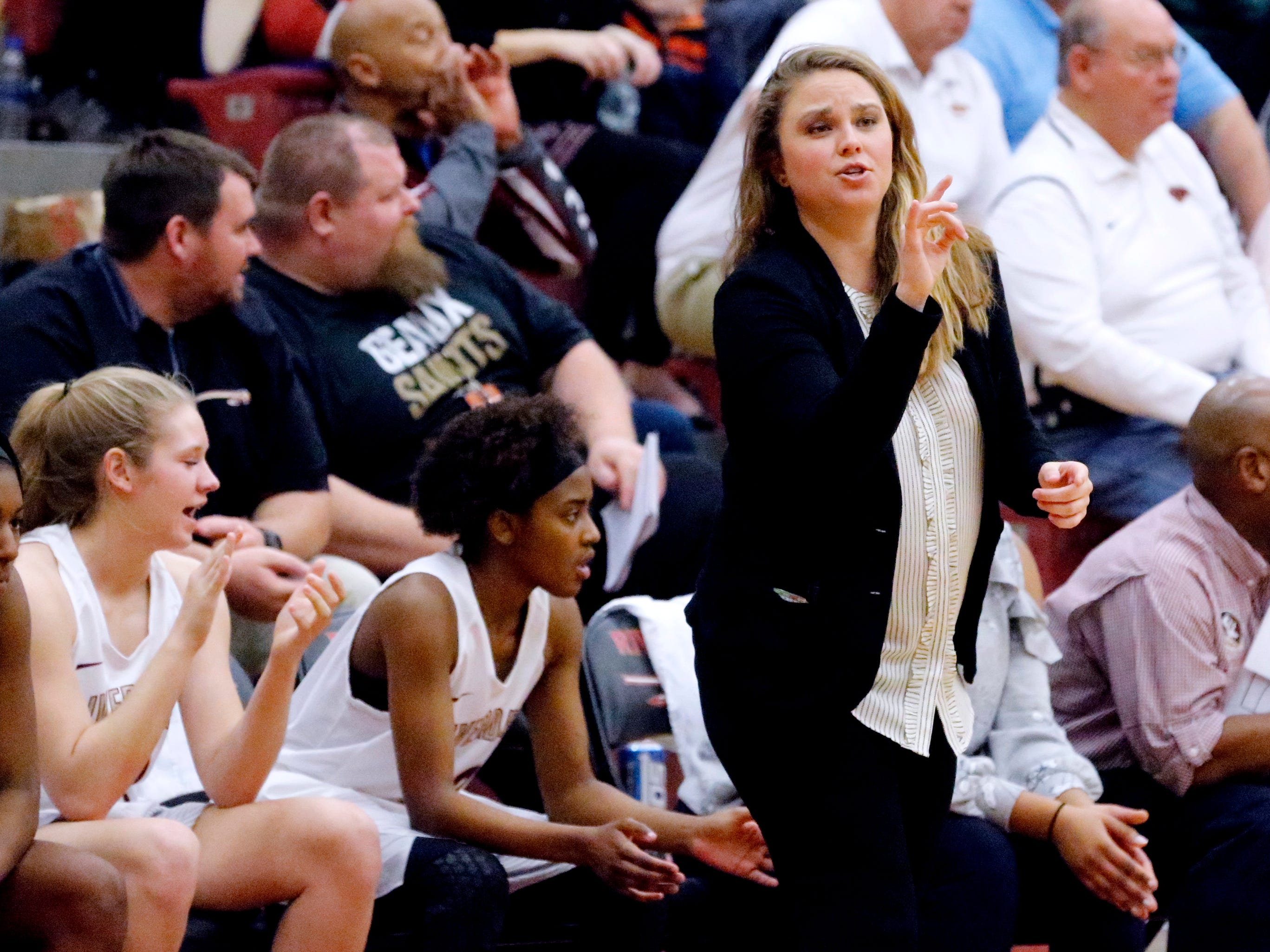 Riverdale's head coach Amy Josephson instructs her team from the sidelines during the game against Blackman on Tuesday Jan. 8, 2019.