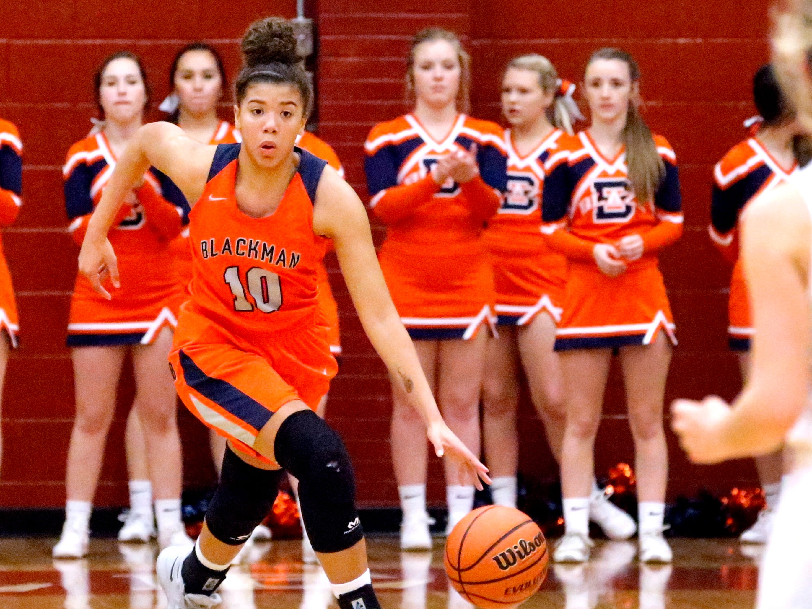 Blackman's Jaida Bond (10) brings the ball down the court during the game against Riverdale on Tuesday Jan. 8, 2019.