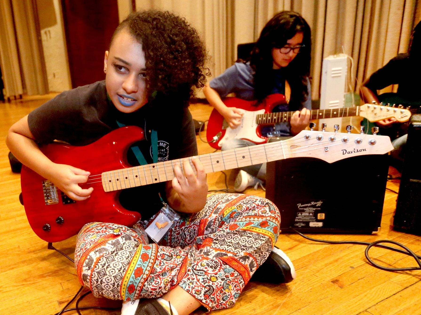 Volunteers teach and girls participate on at the annual Southern Girls Rock & Roll Camp at MTSU.