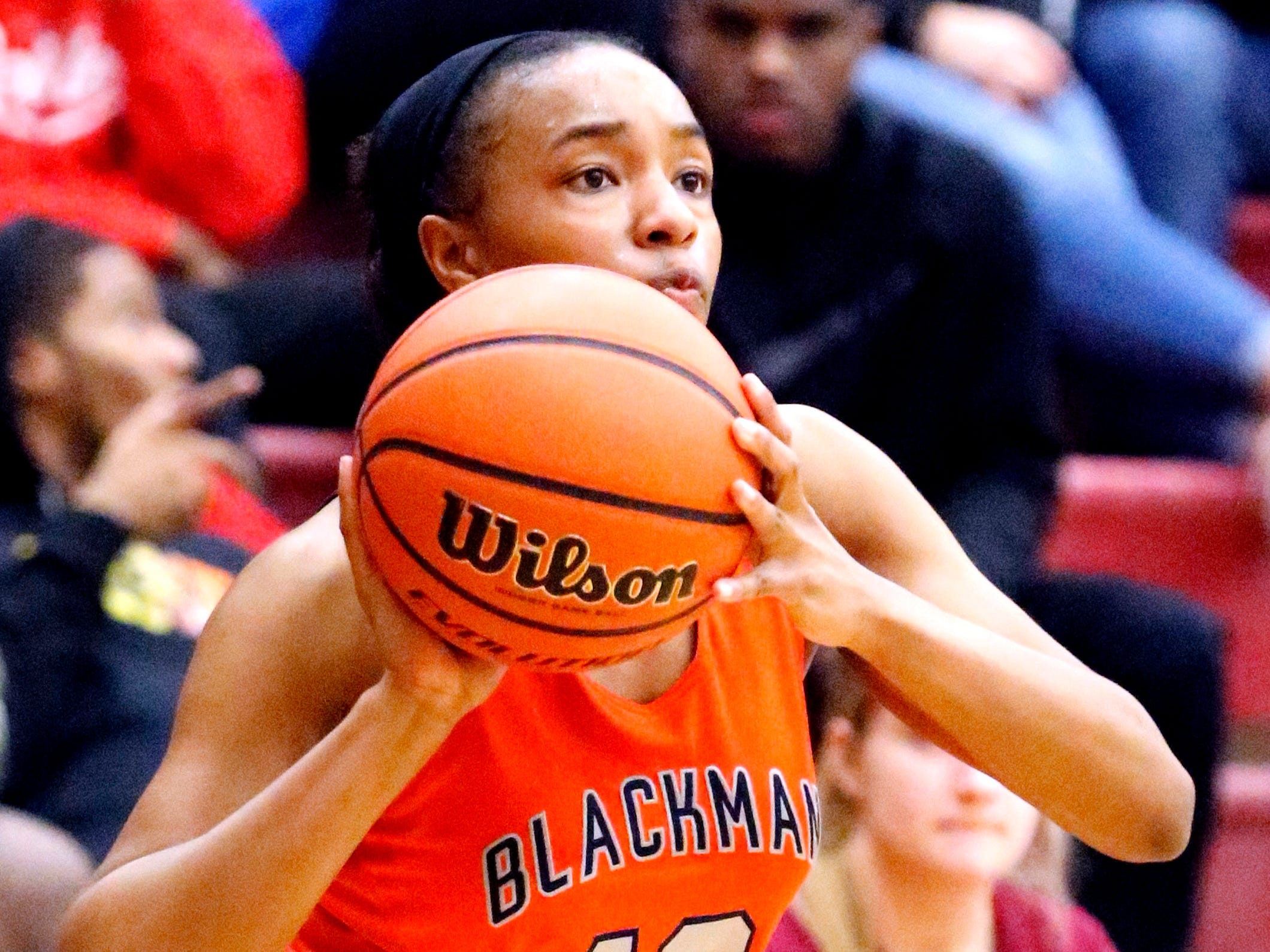 Blackman's Nia Vanzant (12) shoots the ball during the game against Riverdale on Tuesday Jan. 8, 2019.