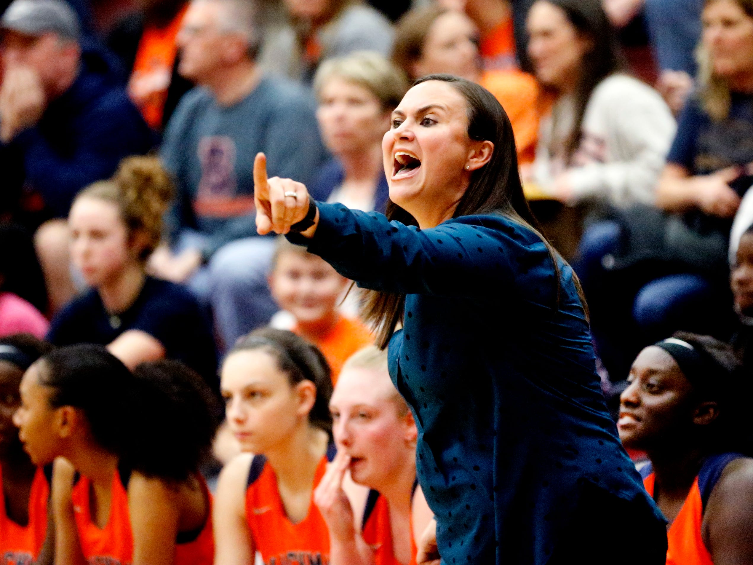 Blackman's head coach Wendi Scott instructs her team from the sidelines during the game against Riverdale on Tuesday Jan. 8, 2019.