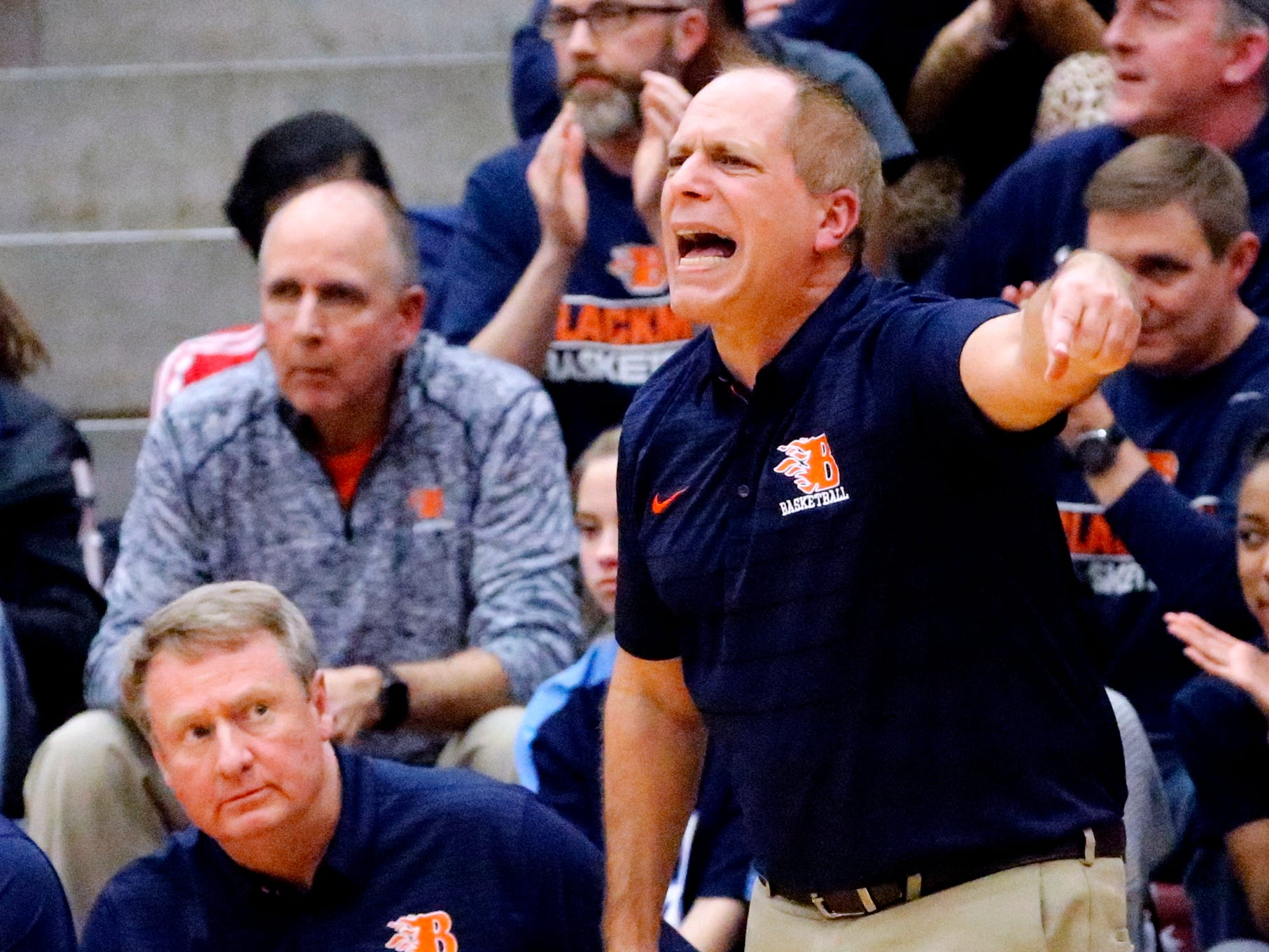 Blackman's head coach Barry Wortman on the sidelines during game against Riverdale on Tuesday Jan. 8, 2019.