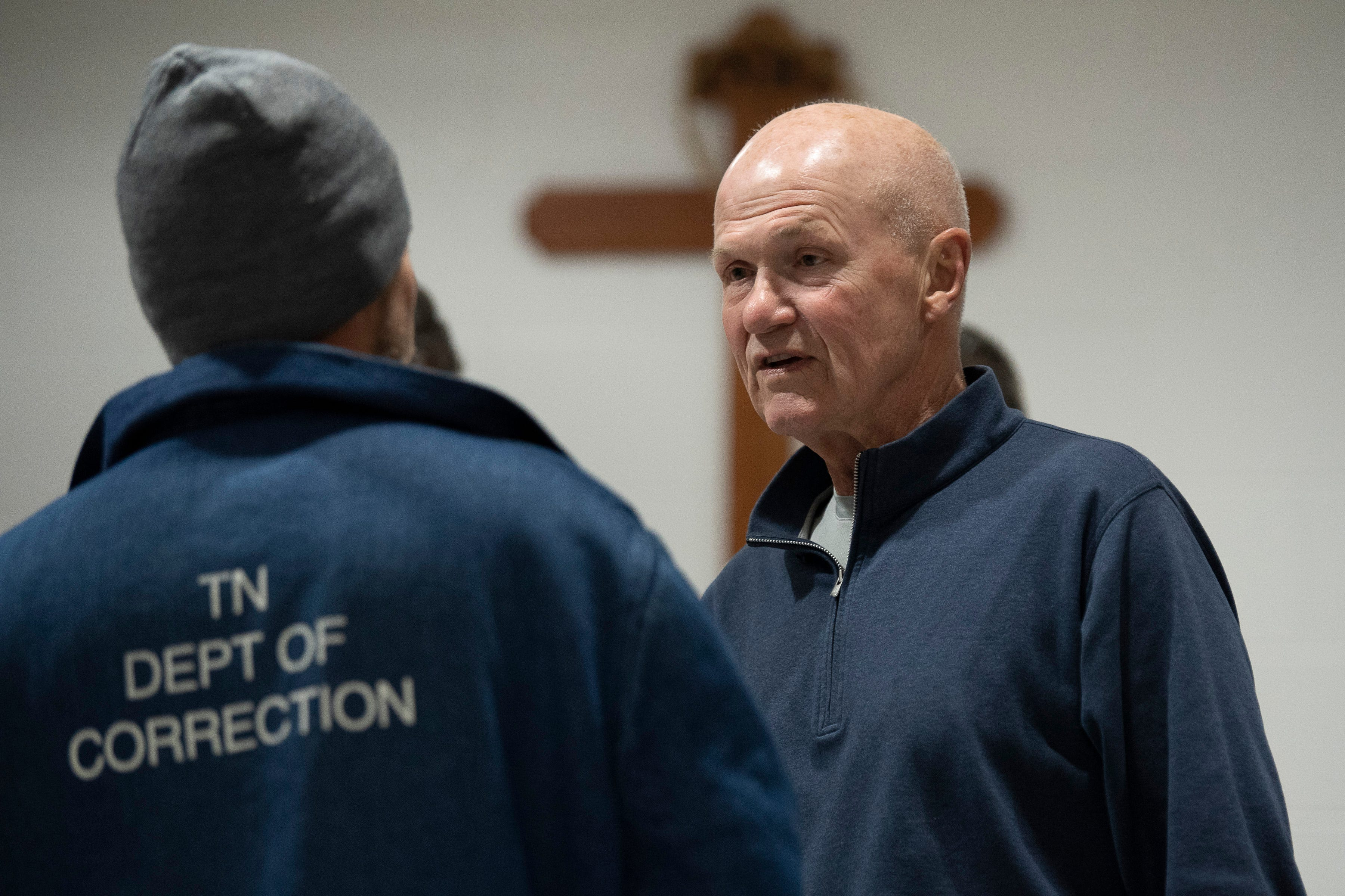 Rudy Kalis visits with an inmate at the Riverbend Maximum Security Institution Tuesday, Jan. 8, 2019, in Nashville, Tenn. Kalis is a volunteer the the Men of Valor program that holds bible study groups at the state prison.