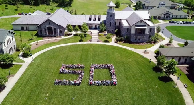 Students make the number 50 in celebration of the Currey Ingram Academy's 50th anniversary in Brentwood.