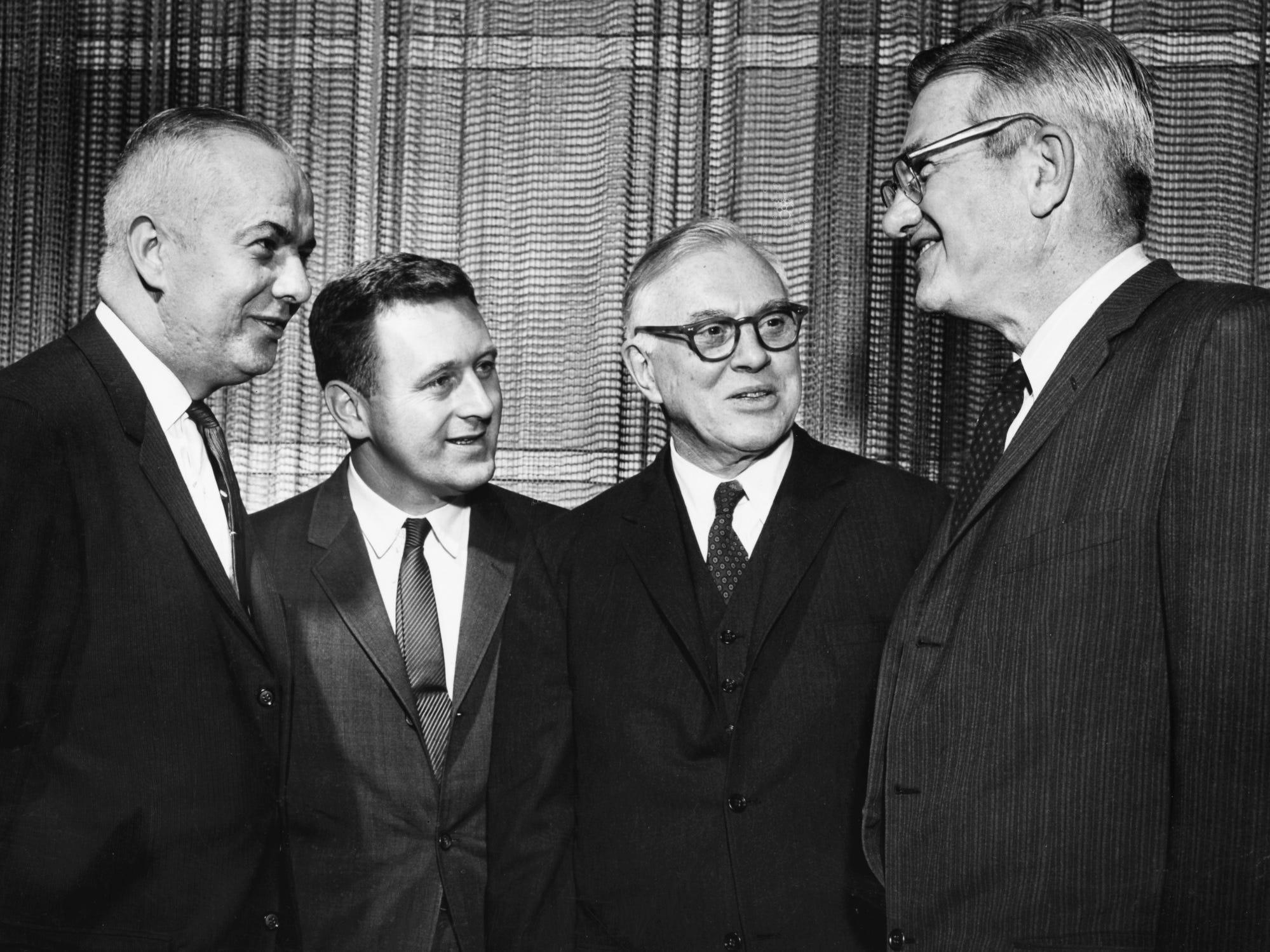 Wayne Whitt, left, John Seigenthaler and Nat Caldwell, right, of The Tennessean talk with Louis Lyons, second from right, curator of the Nieman Foundation at Harvard, on Jan. 22, 1963.