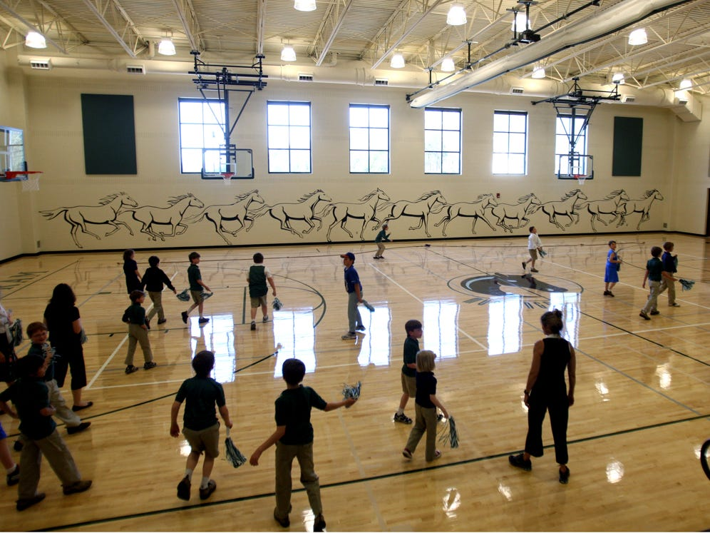 Currey Ingram Academy students tour their new gym in 2010.