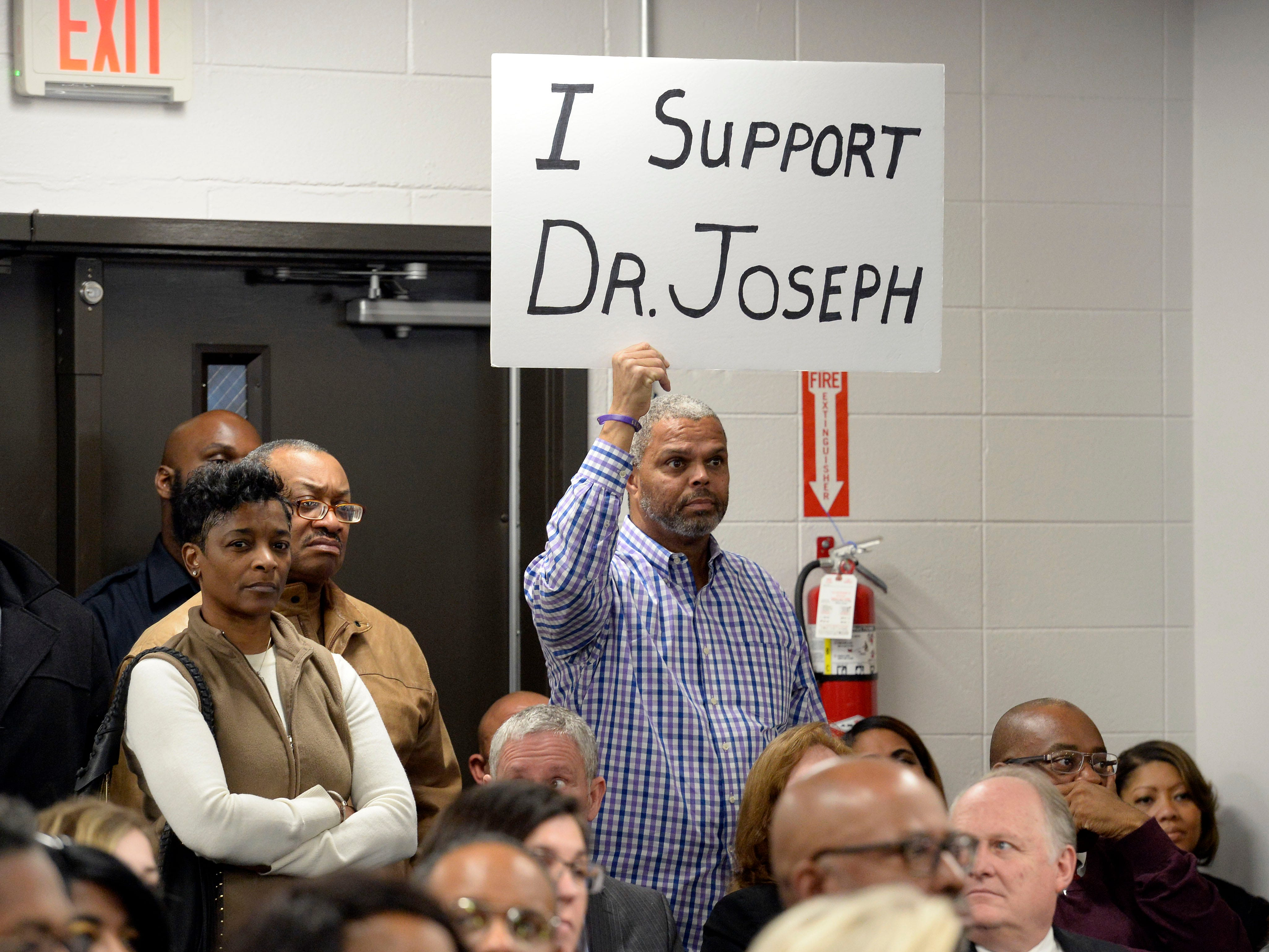Residents show their support for Nashville Director of Schools Shawn Joseph during a Metropolitan Nashville Public Board of Education board meeting on Tuesday, Jan. 8, 2019, in Nashville, Tenn.
