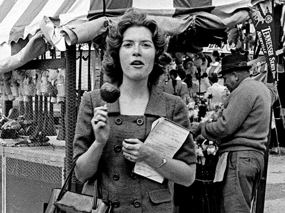 Tennessean reporter Nancy Bradford covers the Tennessee State Fair on Sept. 24, 1965.