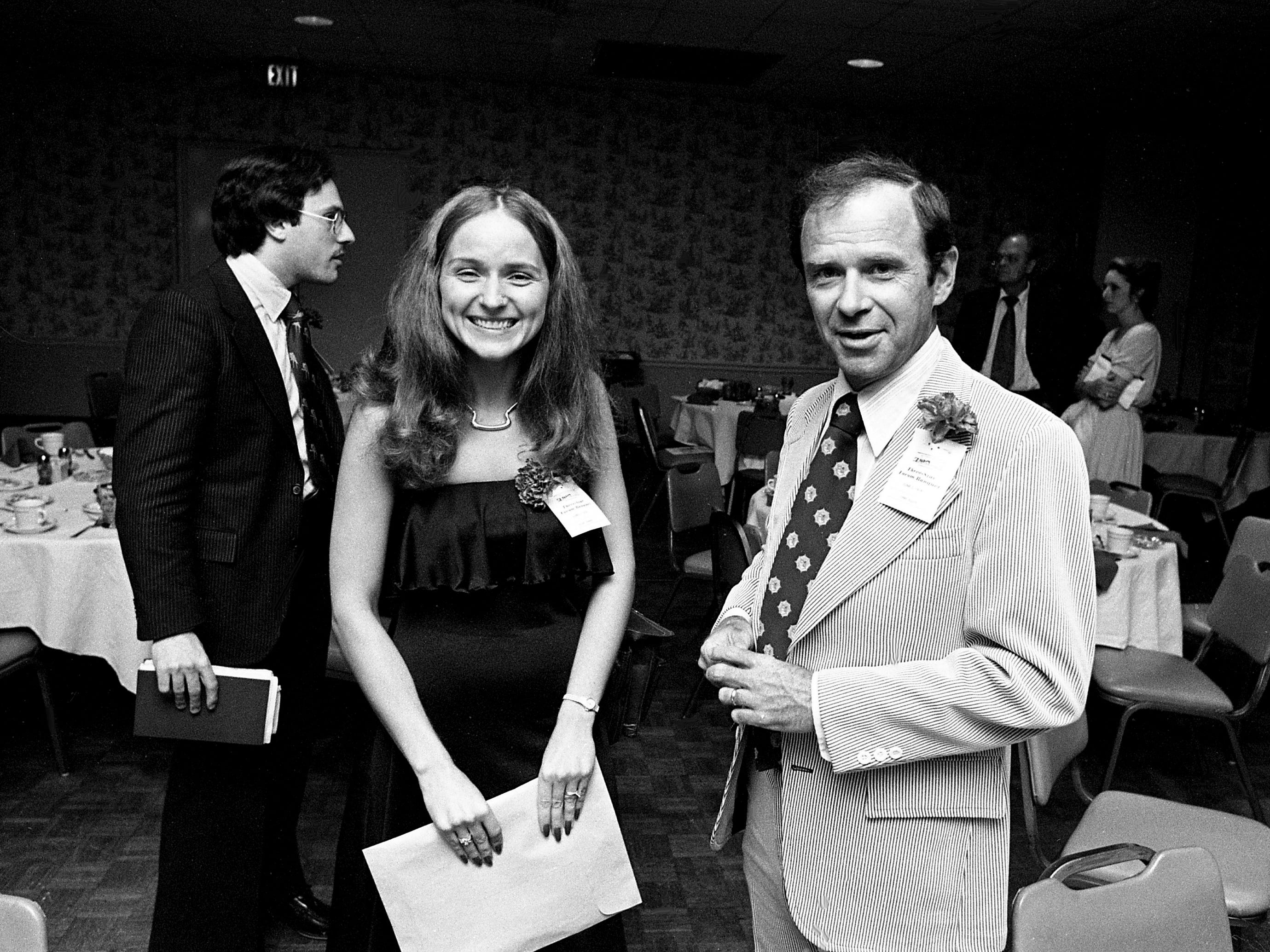 Tennessean reporter Susan Thomas, left, and chief photographer Jimmy Ellis are ready to enjoy the paper's 39th annual Three-Star Forum Banquet at the downtown Sheraton on June 2, 1978.