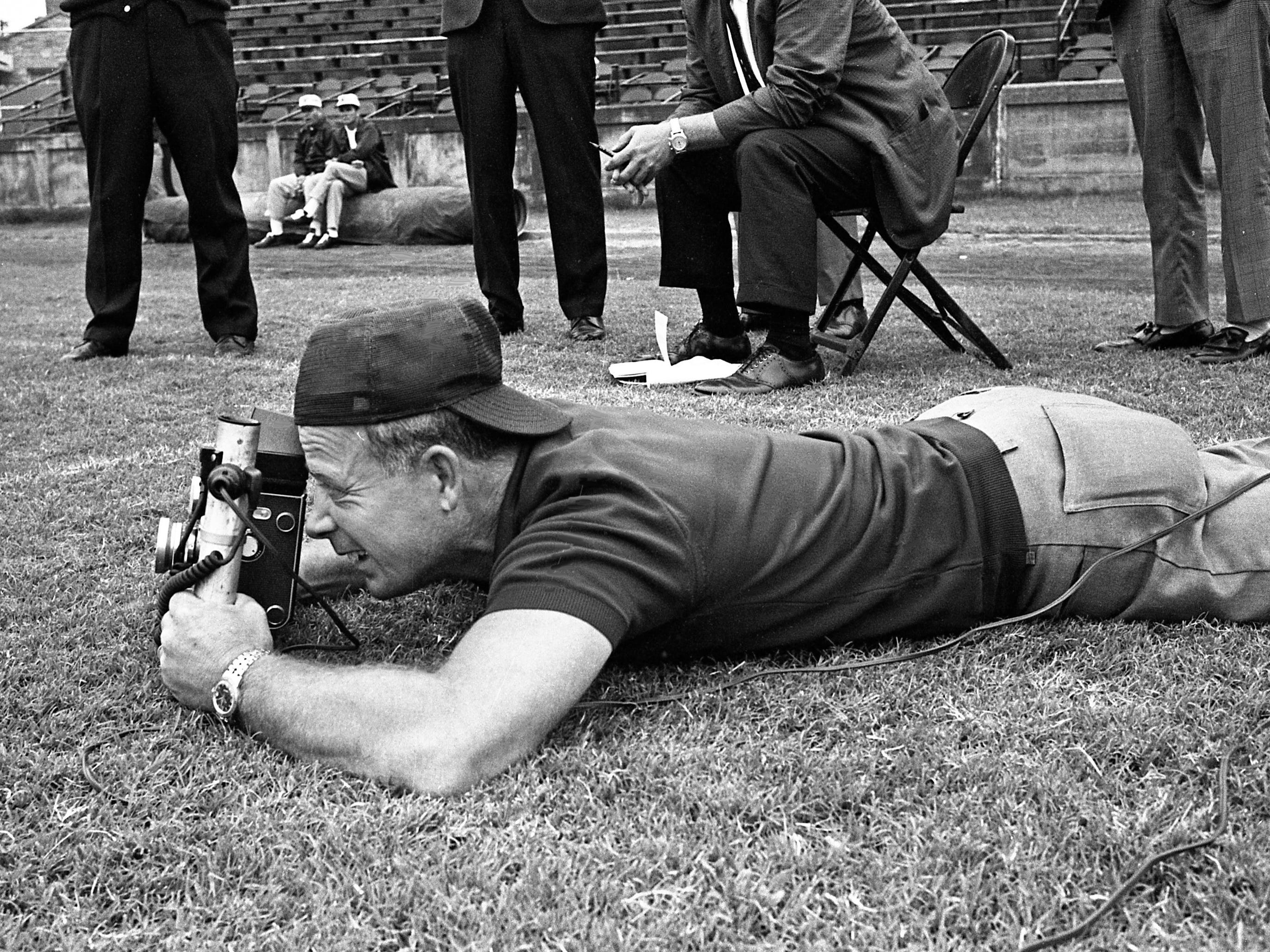 Tennessean color photographer Jimmy Holt is in action during the Vanderbilt University football team picture day at Dudley Field on Aug. 31, 1967.