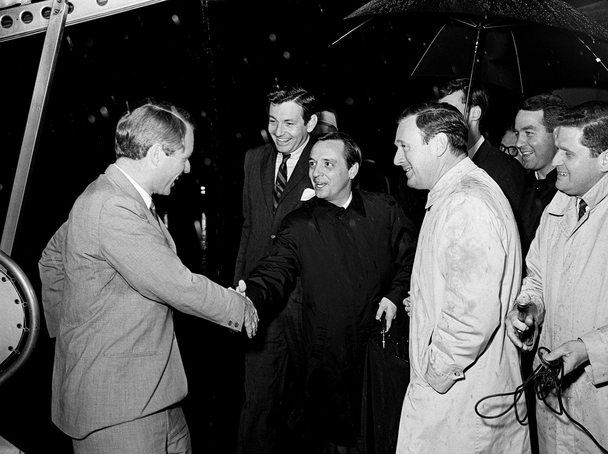 Presidential aspirant Sen. Robert Kennedy, left, is greeted at the Metro Airport by attorney John Jay Hooker Jr., Nashville Tennessean Publisher Amon Carter Evans and Editor John Seigenthaler on March 21, 1968. Kennedy was in town for the Impact Symposium at Vanderbilt University.