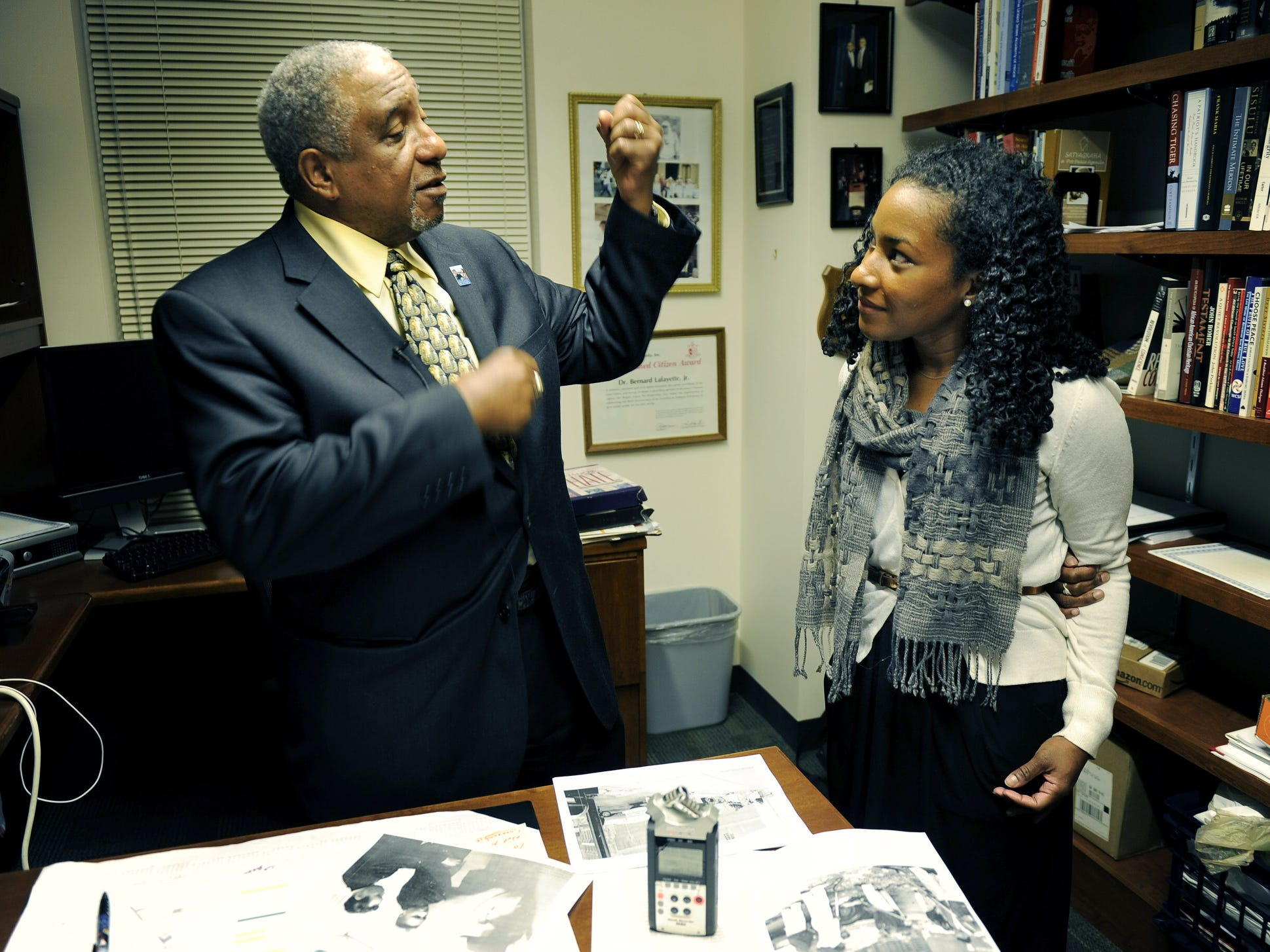 Civil rights activist and organizer Bernard LaFayette, left, talks with Tennessean reporter Jaquetta White during an interview Feb. 5, 2013, in Atlanta.