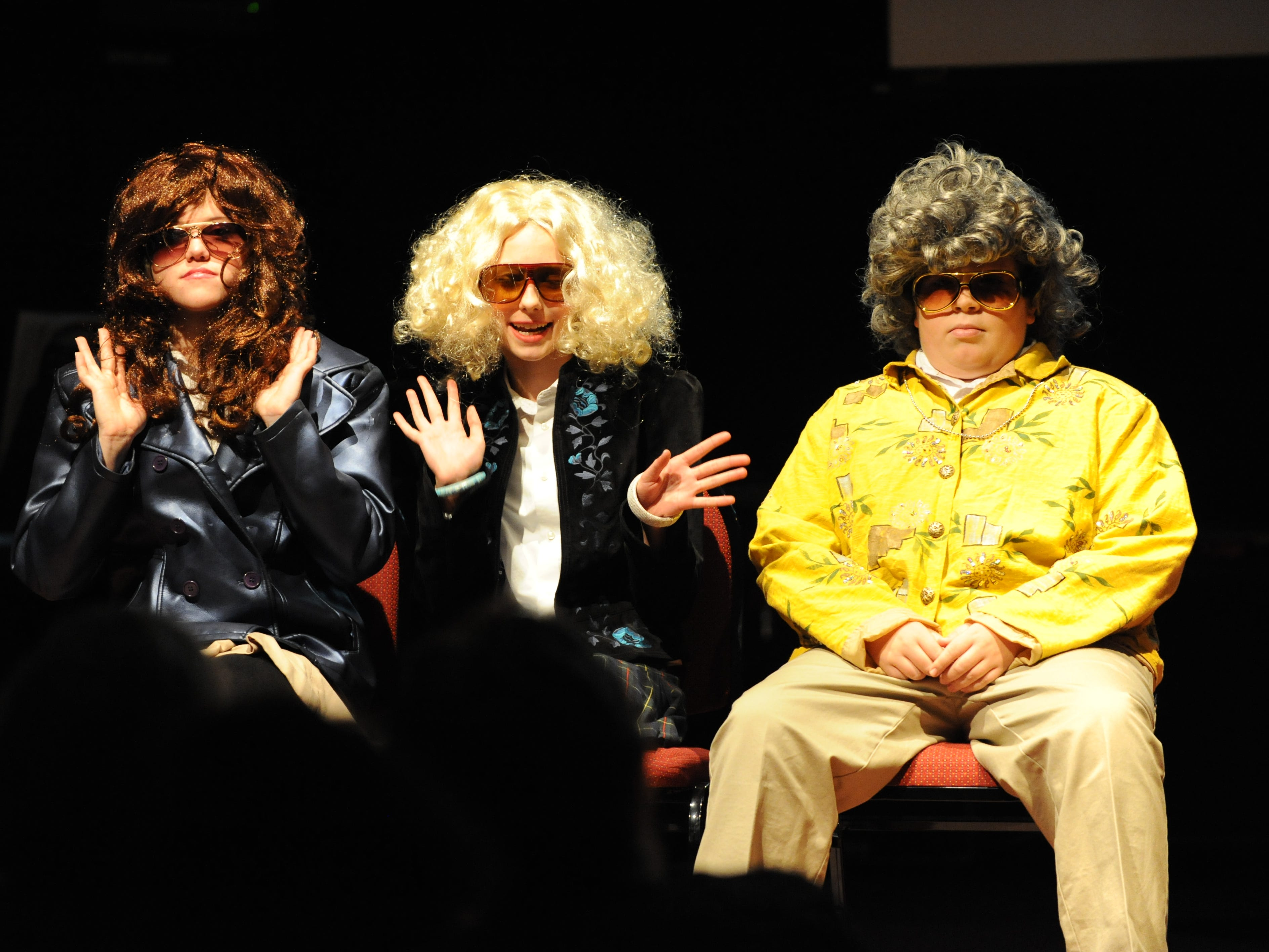 """Currey Ingram middle school theater students Natasha Rollins, Carson McConnell and Brody Ollech showcase a skit from """"Saturday Night Live"""" during the semiannual Fine Arts Celebration in 2013 ."""