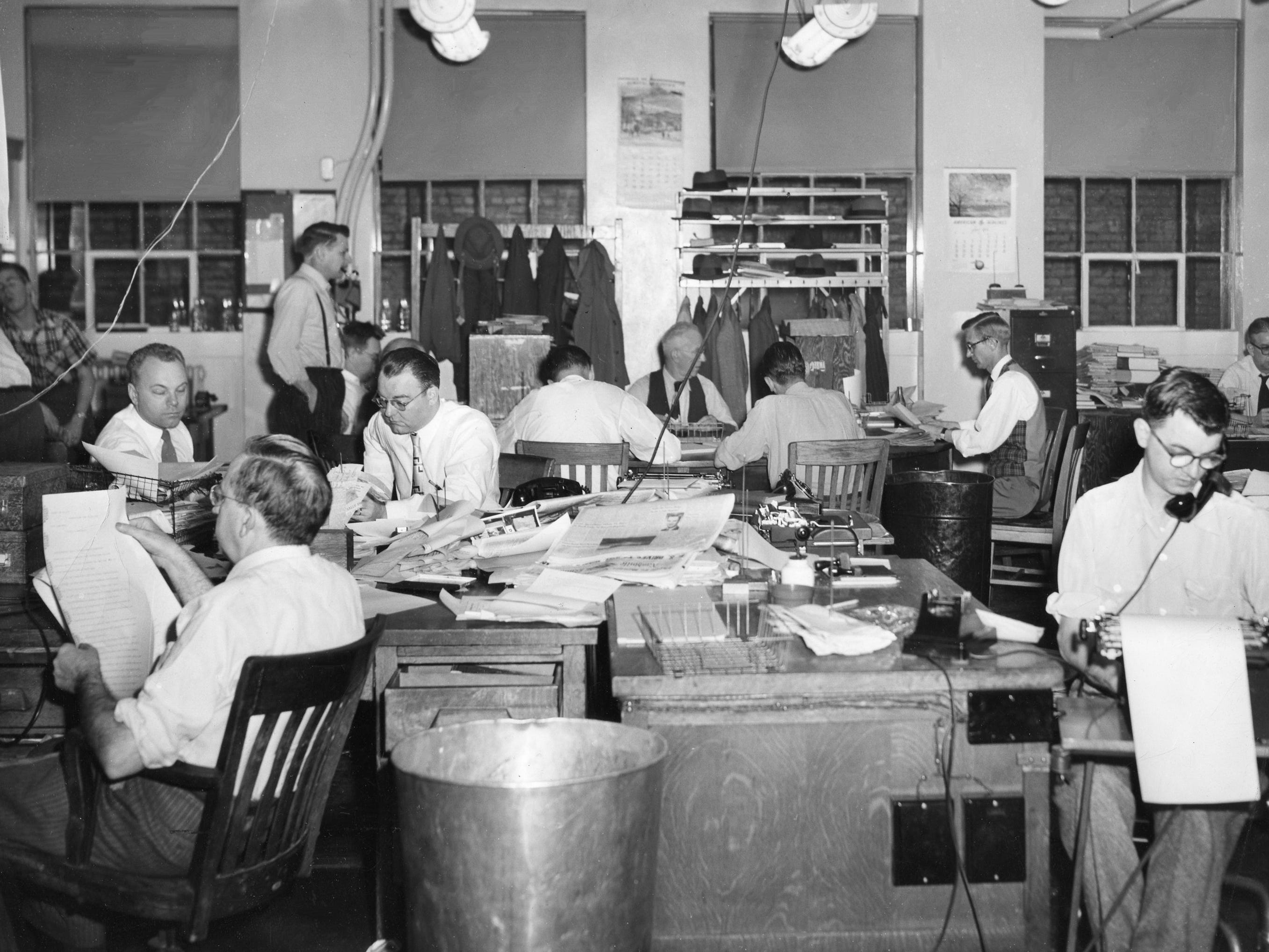 Journalists in The Tennessean city room work on deadline Sept. 3, 1953.