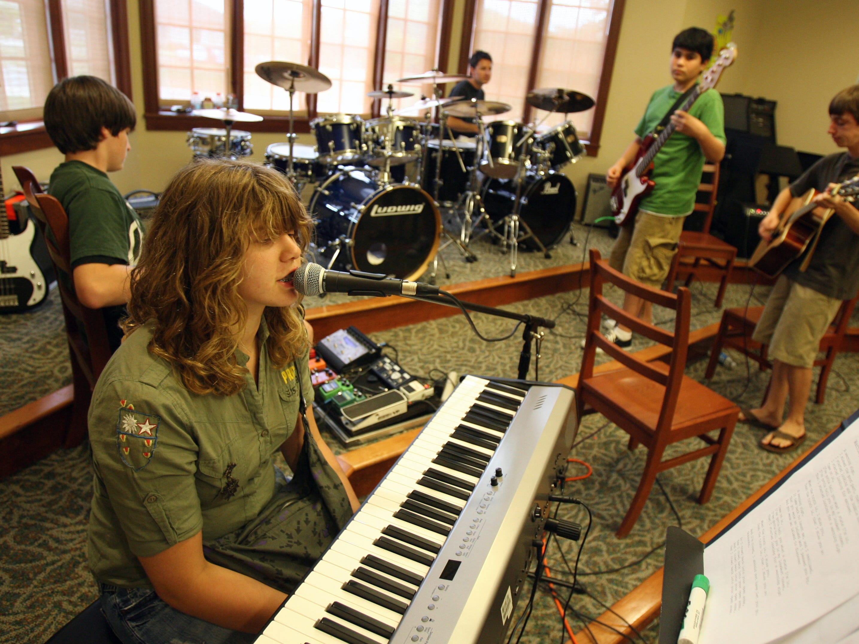 Alyssa Trama, 15, and the band Cousin Connah rehearse for their performance on Tuesday, July 17, 2007, at the end of The Greater Nashville Rock and Roll Theatre Camp at Currey Ingram Academy in Brentwood.