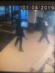 Metro Nashville Police released surveillance footage images of the two men arrested Tuesday in connection with the robbery of a hotel and sexual assault of a clerk earlier in the day.