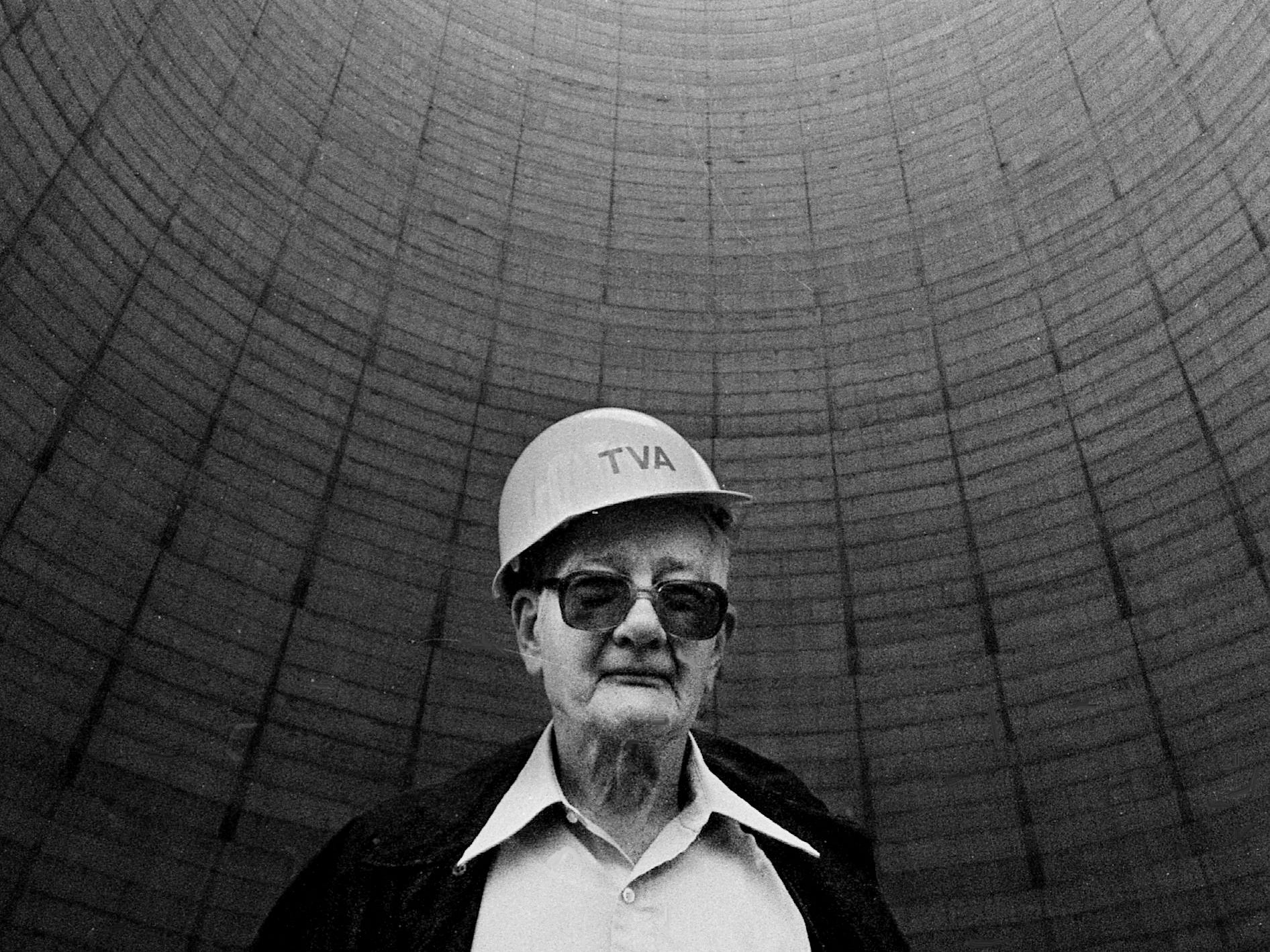 Tennessean reporter Nat Caldwell stands inside the 574-foot cooling tower of the abandoned Hartsville nuclear power plant May 15, 1983.