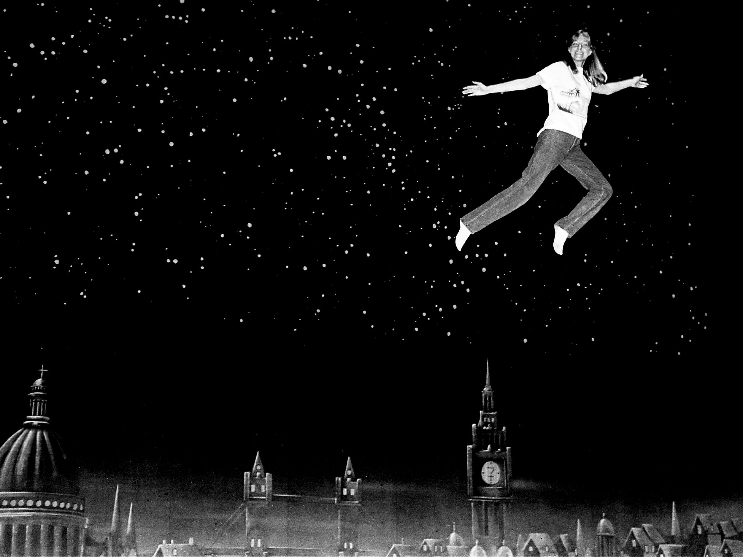 "Tennessean reporter Diane Bartley soars over the set of ""Peter Pan"" at the Tennessee Performing Arts Center's Jackson Hall on June 23, 1983. The marketing coordinator for TPAC was looking for a brave volunteer who could learn firsthand what it's like to flutter over center stage 40 feet above ground."