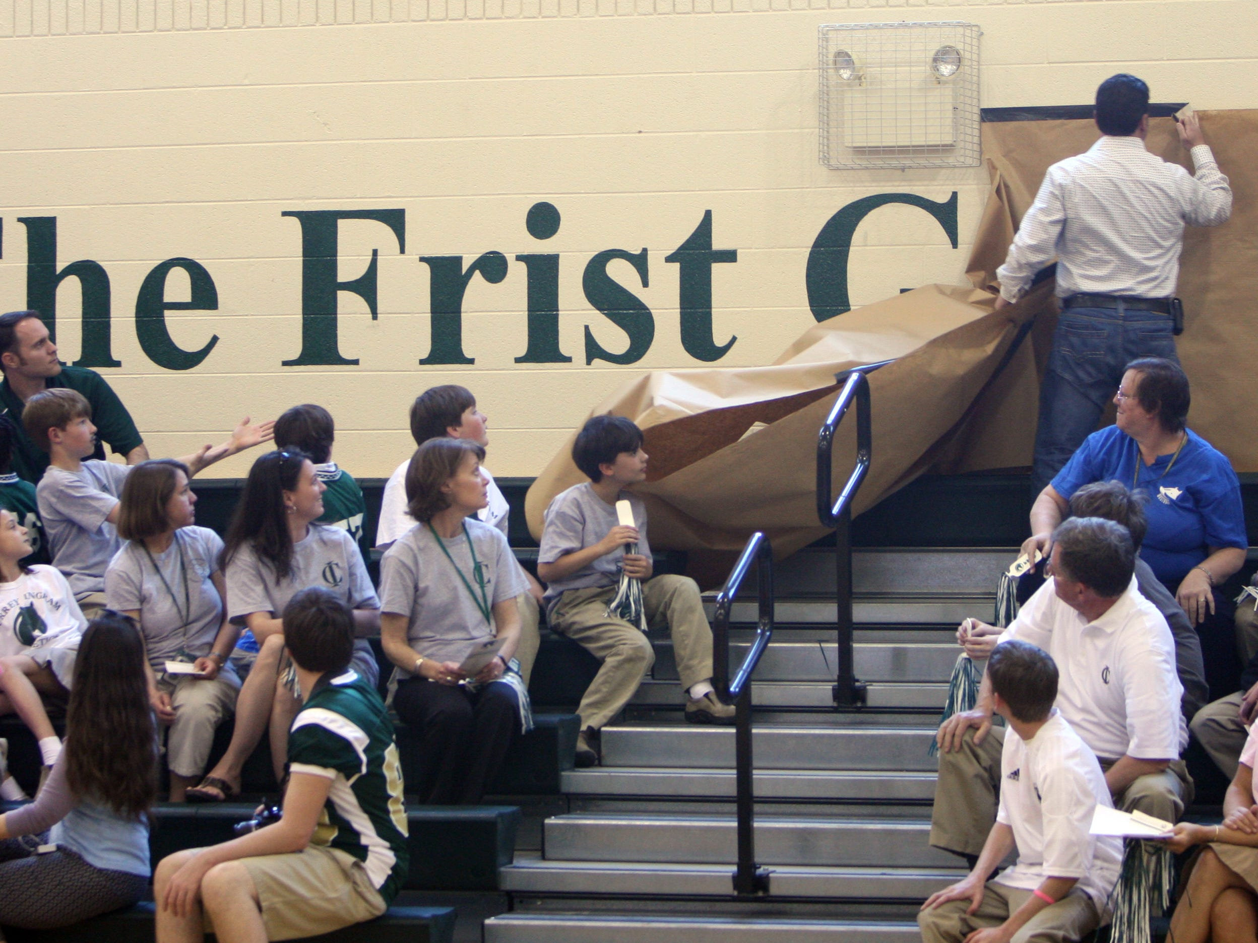 Currey Ingram Academy unveils a new name for school's existing gym in 2010. The Frist Gymnasium was presented during the opening and naming of Jan Carell Field House.