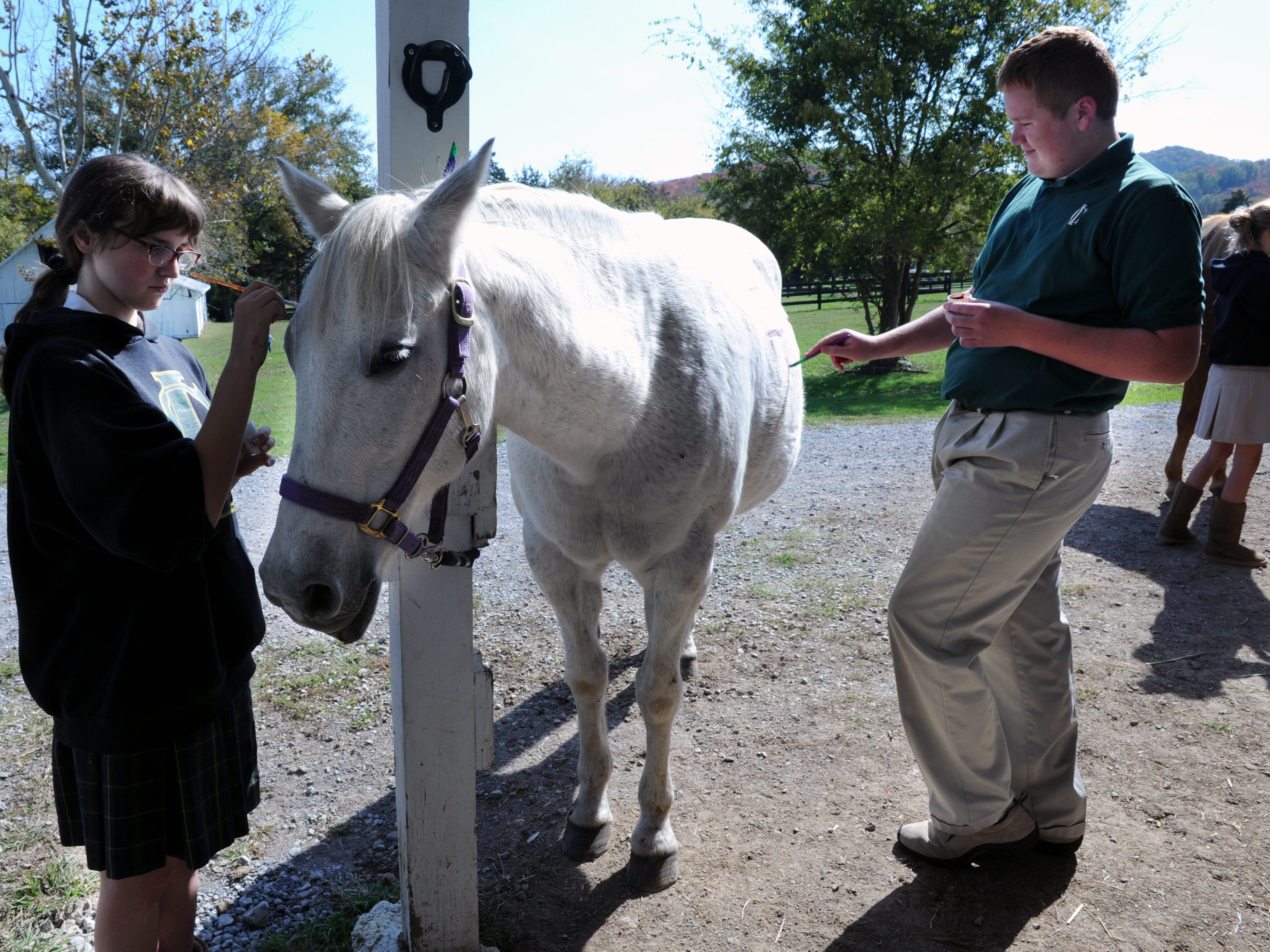 In 2012, Currey Ingram Academy students Issy Hall and Matt Miller paint Native American symbols on Nelly, a horse that is part of the school's equine therapy program.