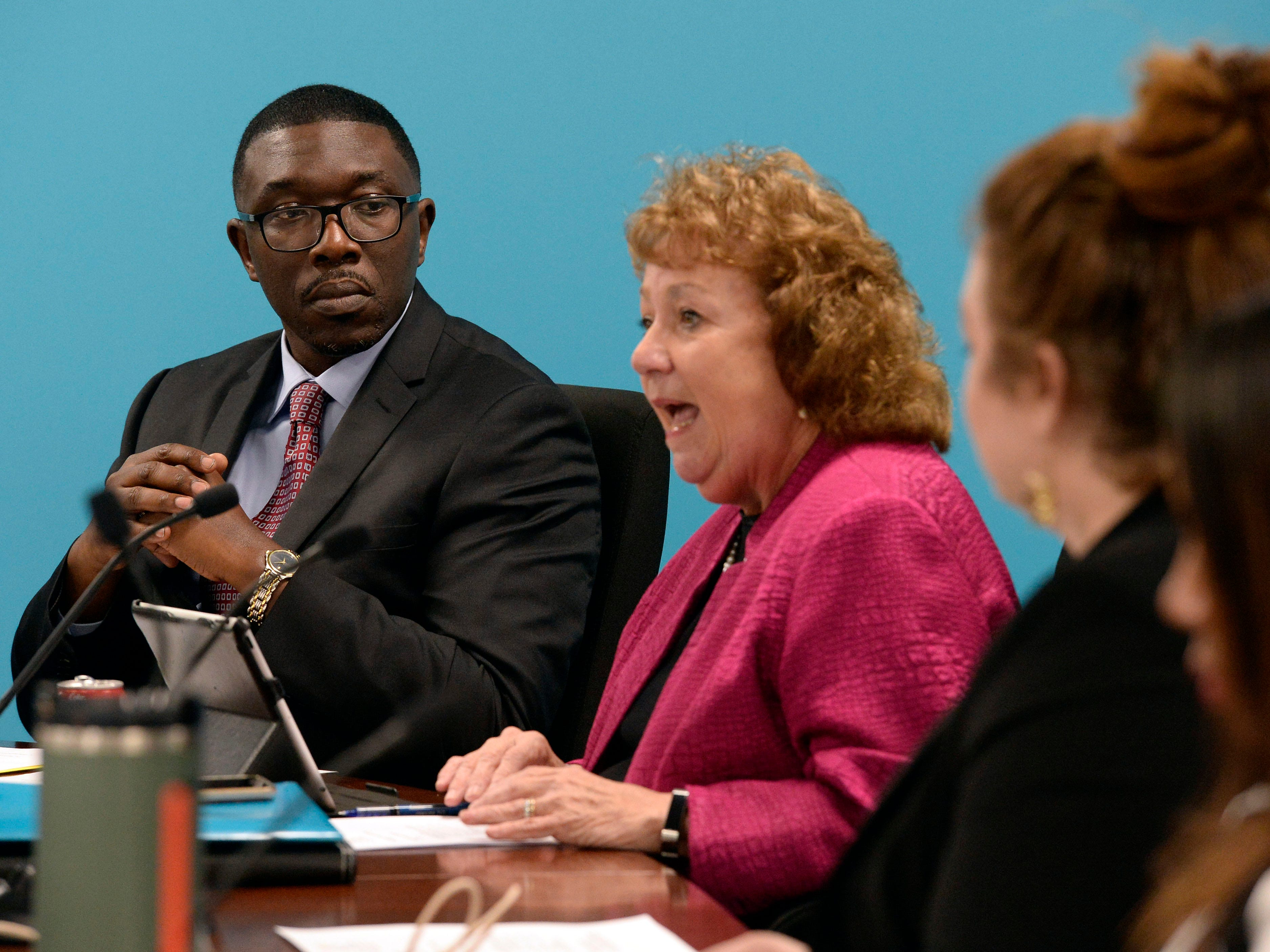 Nashville Director of Schools Shawn Joseph listens to a fellow Metropolitan Nashville Public Board of Education board member speak at a meeting on Tuesday, Jan. 8, 2019, in Nashville, Tenn.