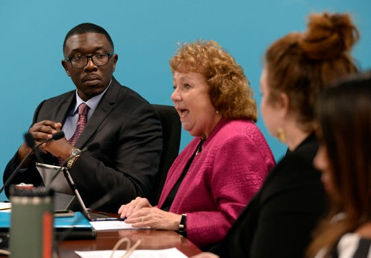 Nashville Director of Schools Shawn Joseph listens to a fellow Metropolitan Nashville Public Board of Education board member speak at a meeting on Tuesday, Jan. 8, 2019, in Nashville, Tenn.