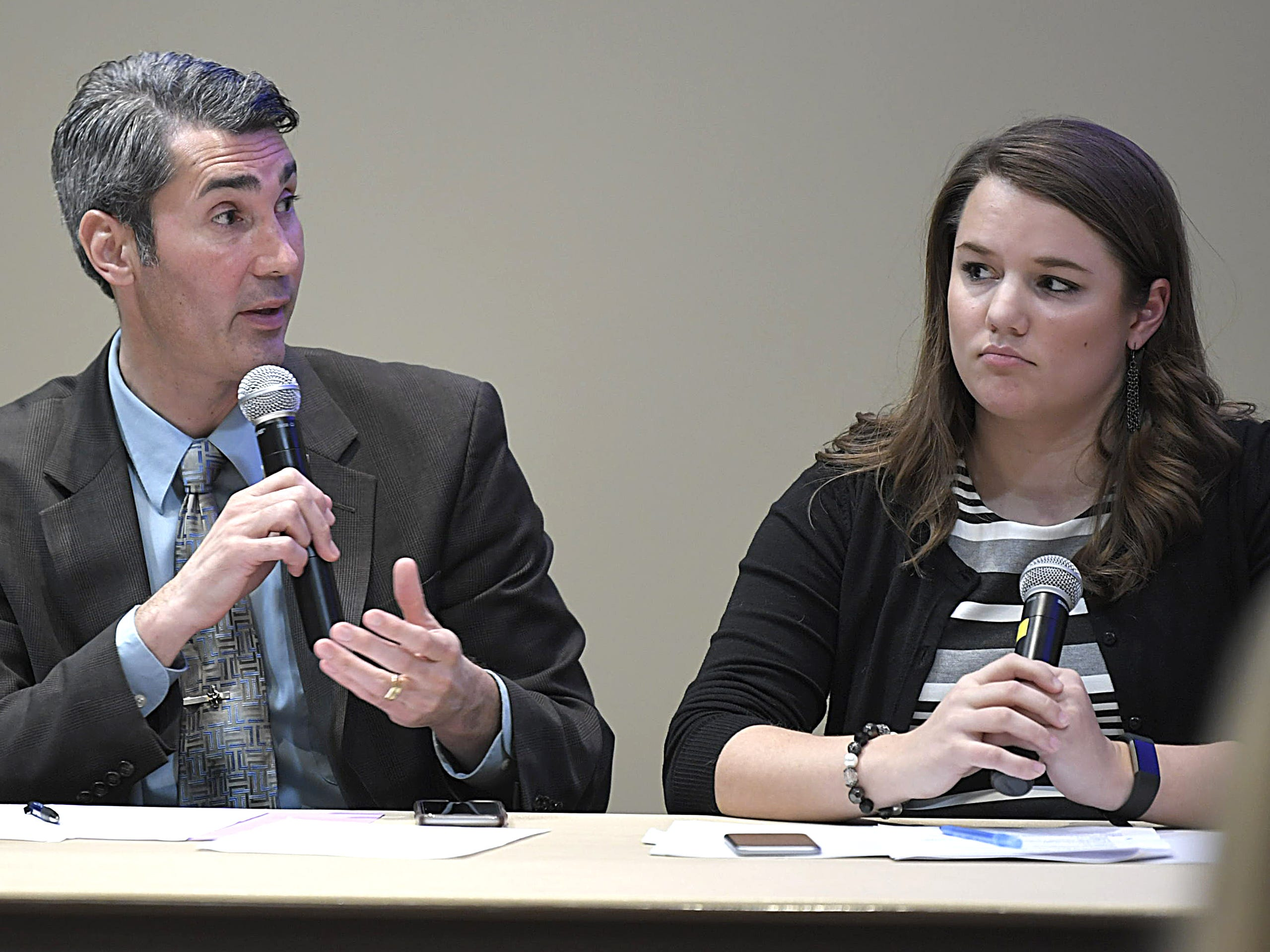 The Tennessean hosted a forum on Williamson County school finance at the John P. Holt Brentwood Library on Jan. 9, 2018. The session was led by David Plazas, left, The Tennessean's opinion and engagement editor, and reporter Elaina Sauber.