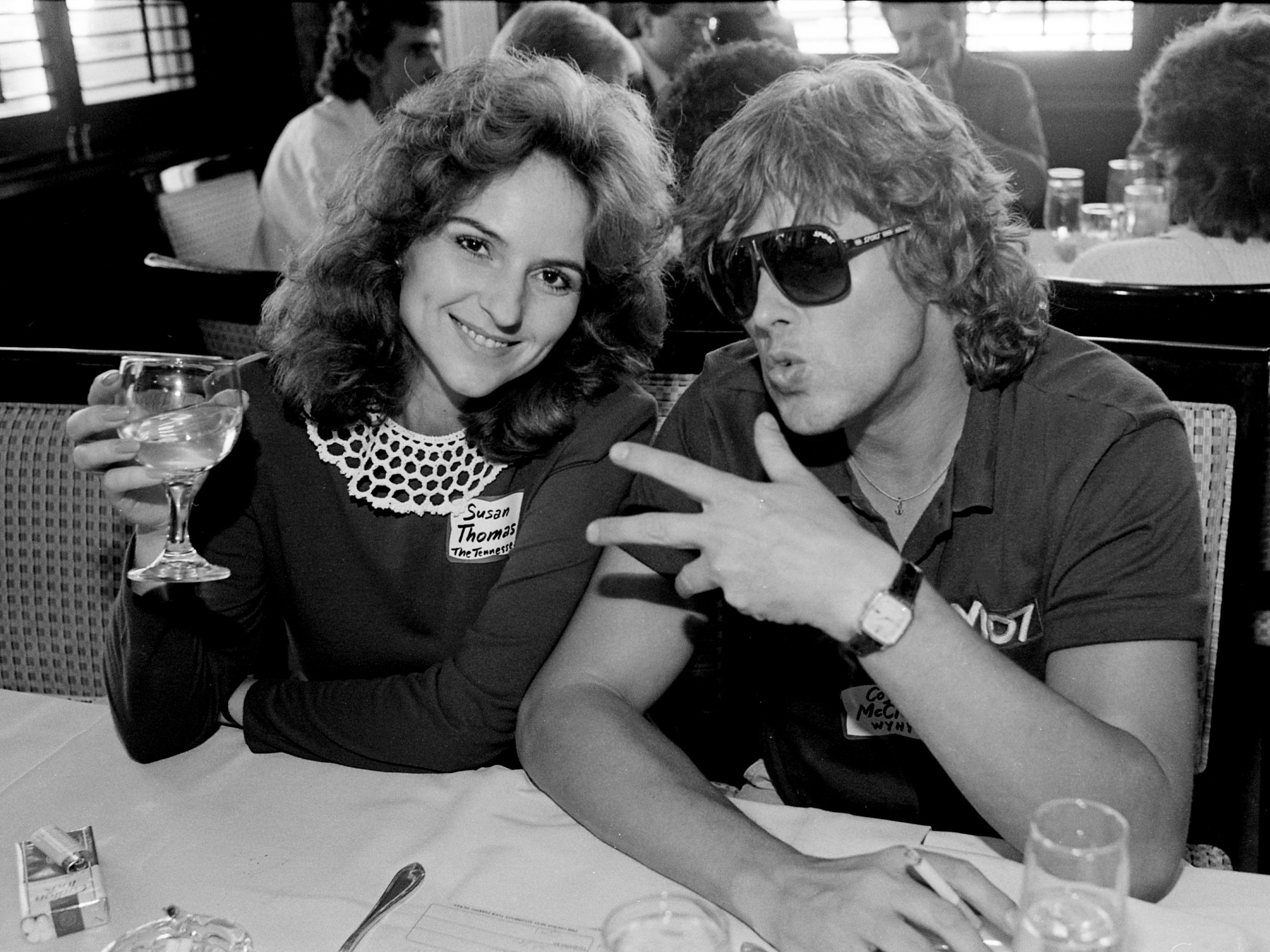 Coyote McCloud, right, of WYHY, is being cool with Susan Thomas, a reporter for The Tennessean, at Union Station for lunch Oct. 1, 1987, to hear details for this year's Tennessean disc jockey election.