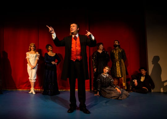 """Actors rehearse Rupert Holmes' """"The Mystery of Edwin Drood,"""" a musical based on the unfinished Charles Dickens novel by the same name, at the G&L Theatre in North Naples, on Tuesday, Jan. 8, 2019. This G&L Theatre production, directed by Mark Danni, will premiere on Thursday, Jan. 10, 2019."""