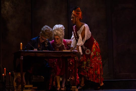"""Marina Shay, left,  Shannon Sullivan and Dria Brown in dress rehearsal for Lauren Gunderson's play """"The Revolutionists"""" afternoon at Gulfshore Playhouse in Naples on Tuesday, Jan. 8, 2019."""