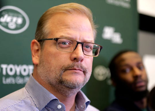 New York Jets general manager Mike Maccagnan speaks to reporters in Florham Park, N.J., Monday, Dec. 31, 2018. After firing Todd Bowles on Sunday night, the New York Jets are focused on bringing in someone who will be able to lead a franchise that has missed the playoffs for eight straight seasons but has a promising young quarterback in Sam Darnold and expects to be busy in free agency this offseason.
