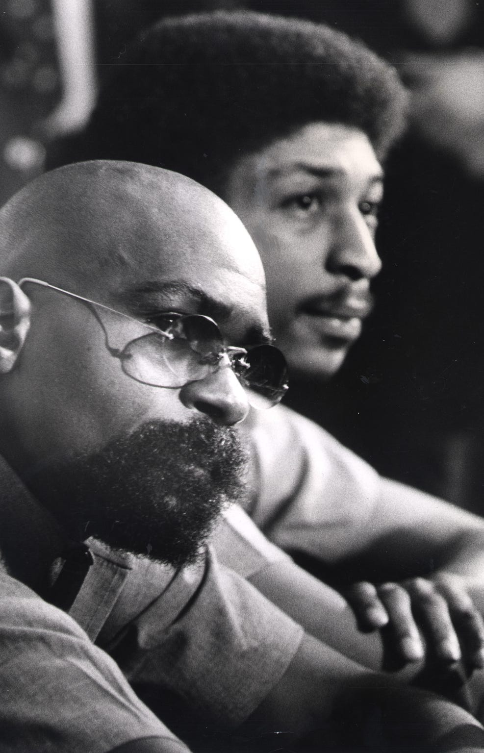 "Dec. 22, 1976: Rubin ""Hurricane"" Carter, left, and John Artis at their press conference in jail."