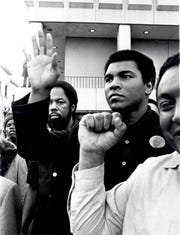 March 1976: Muhammed Ali shows up for Rubin Carter's release from prison.
