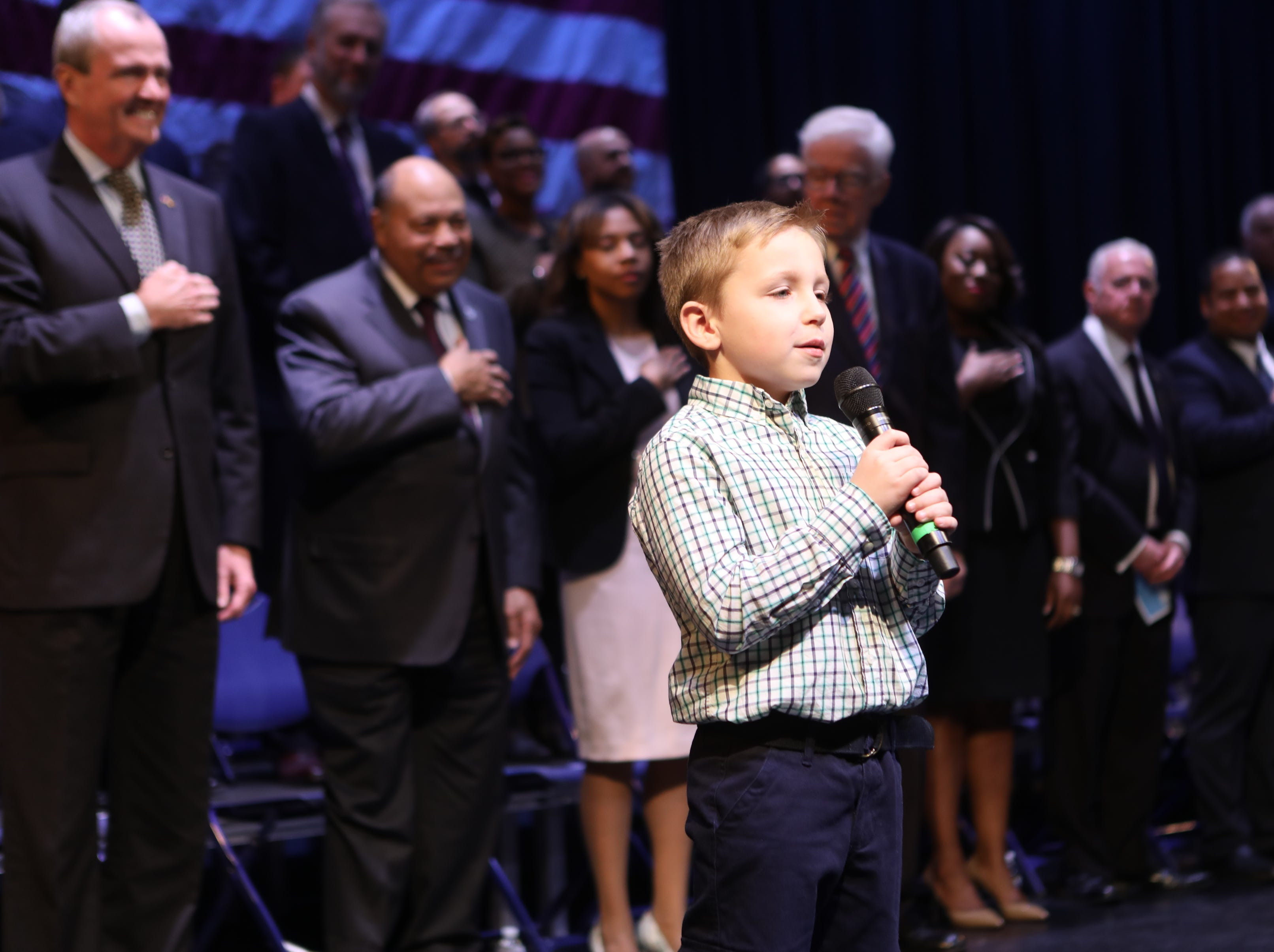 Mark Zalenski sings, 'America the Beautiful' at the County of Passaic County Clerk & Board of Chosen Freeholders Swearing In Ceremony in Wayne.  Tuesday, January 8,  2019