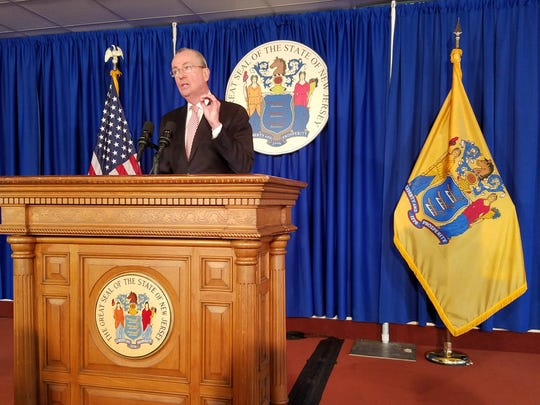 Gov. Phil Murphy, in the media center of his Trenton office on Jan. 9, 2019, speaks at a news conference about an audit of the state's tax incentive programs.