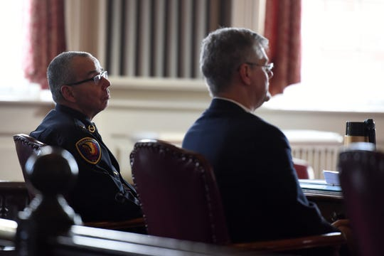 Pequannock Police Chief Brian Spring and attorney Stephen Trimboli, representing Pequannock Twp., from left, appear in Morris County Courthouse on Wednesday, January 9, 2019 for a hearing where former Pequannock police Matthew Levine appeals his termination as a Pequannock Police officer.