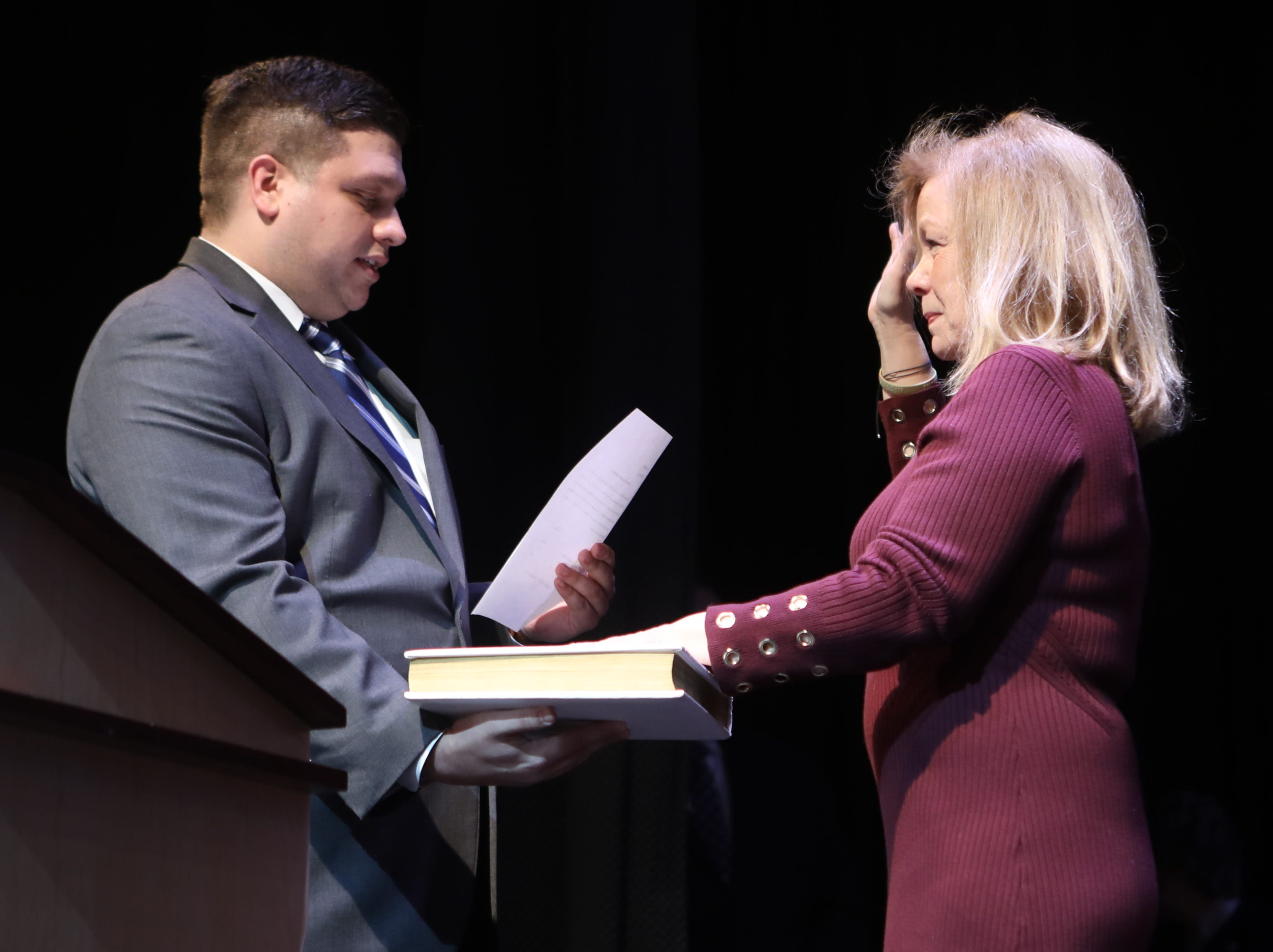 "Joseph A. Capo, Esq.  (left) swears in Cassandra ""Sandi"" Lazzara, as Passaic County Freeholder, at the County of Passaic County Clerk & Board of Chosen Freeholders Swearing In Ceremony in Wayne.  Tuesday, January 8,  2019"