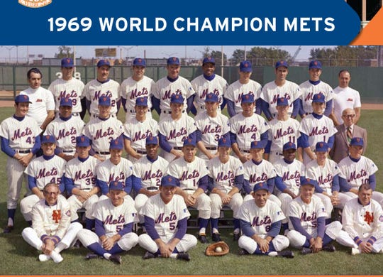 The 1969 World Champion New York Mets: Front Row: (left to right) ± Trainer Gus Mauch, Coach Joe Pignatano, Coach Rube Walker,  Coach Yogi Berra, Coach Eddie Yost, Assistant Trainer Joe Deer.  Second Row: (left to right) ± Tug McGraw, Gary Gentry, Al Weis, Cleon Jones,  Manager Gil Hodges, Jerry Grote, Bud Harrelson, Ed Charles, Rod Gaspar, Duffy Dyer.  Third Row: (left to right) ± Jim McAndrew, Tommie Agee, Cal Koonce, Ken Boswell, Tom Seaver,  Jerry Koosman, Ron Swoboda, Wayne Garrett, Bobby Pfeil, Traveling Secretary Lou Niss.  Back Row: (left to right) ± Equipment Manager Nick Torman, J.C. Martin, Ron Taylor, Ed Kranepool,  Don Cardwell, Donn Clendenon, Nolan Ryan, Art Shamsky, Jack DiLauro, Clubhouse Attendant Roy Neuer.