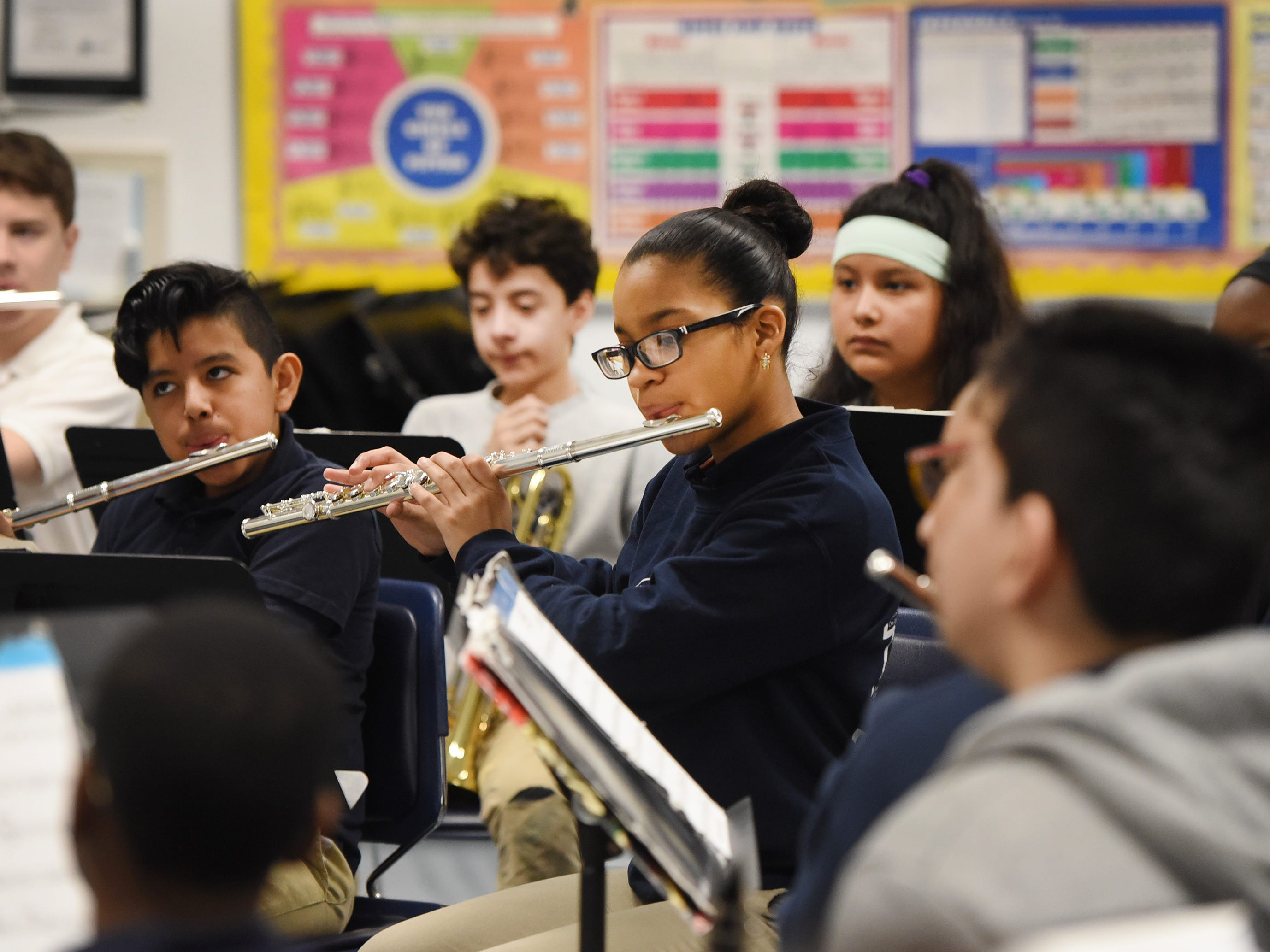 Students practice led by the Band Director Nancy Horowitz during a music class at School #24 in Paterson on 01/09/19.