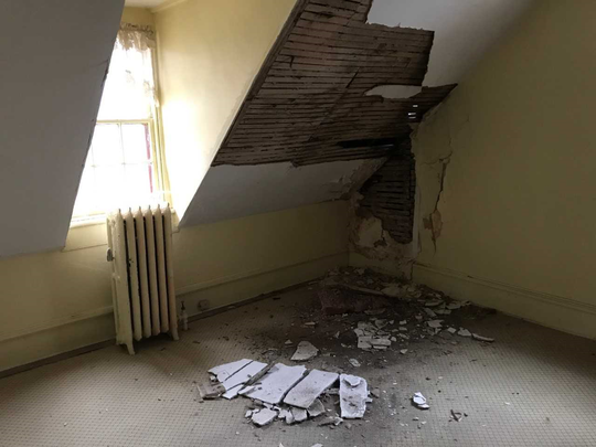 Damage to an upstairs bedroom caused by a leaky roof has spurred interest further renovations to the Bishop House